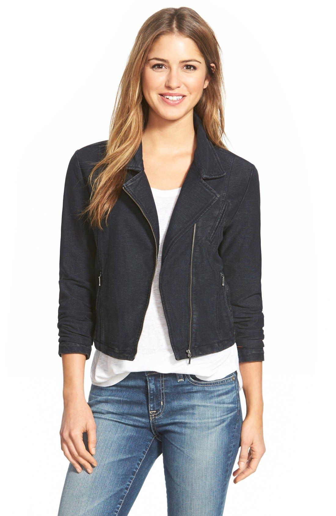 Alternate Image 1 Selected - NIC+ZOE Knit Denim Moto Jacket