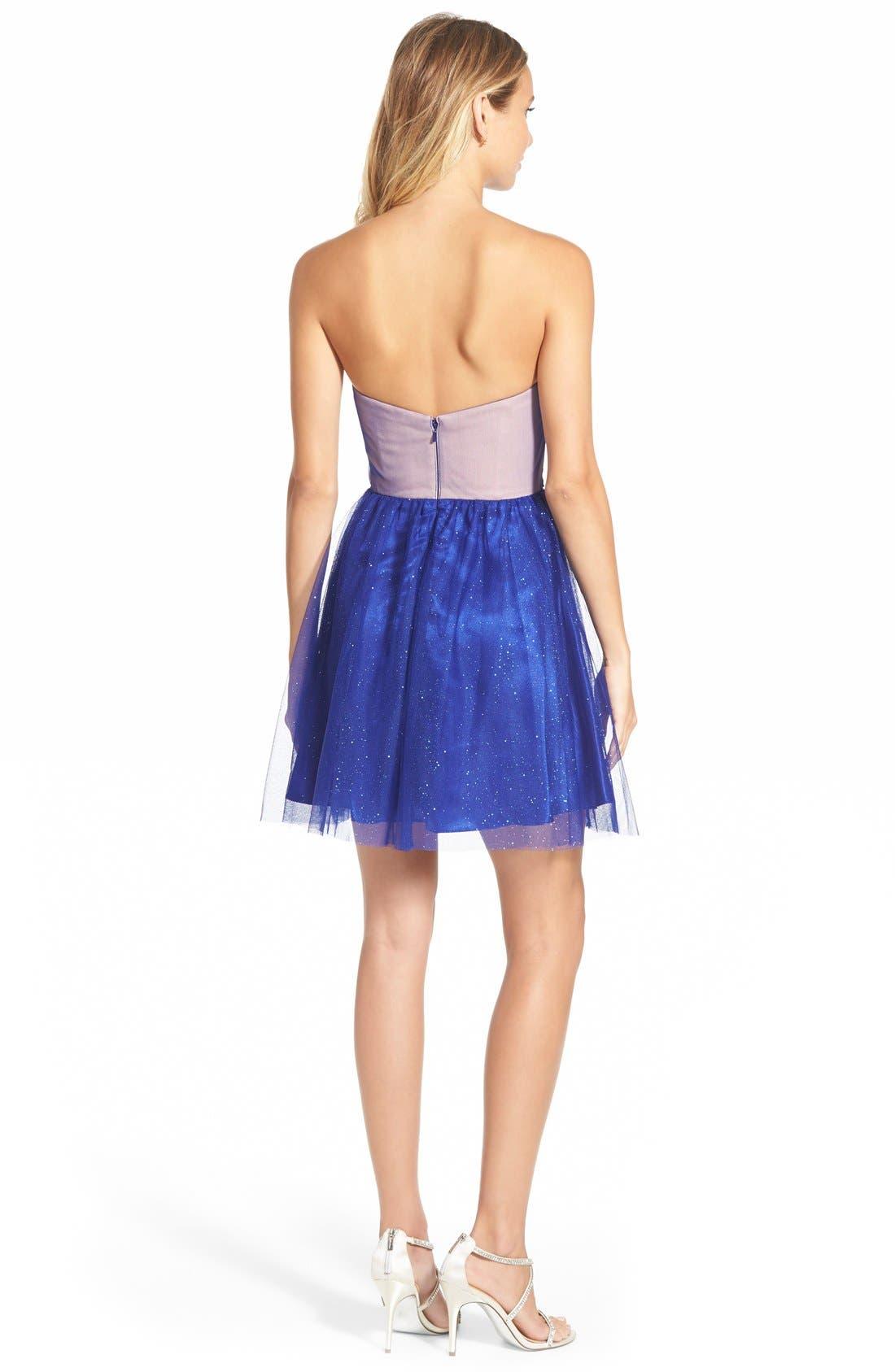 Alternate Image 2  - Jump Apparel Strapless Lace Bodice Skater Dress