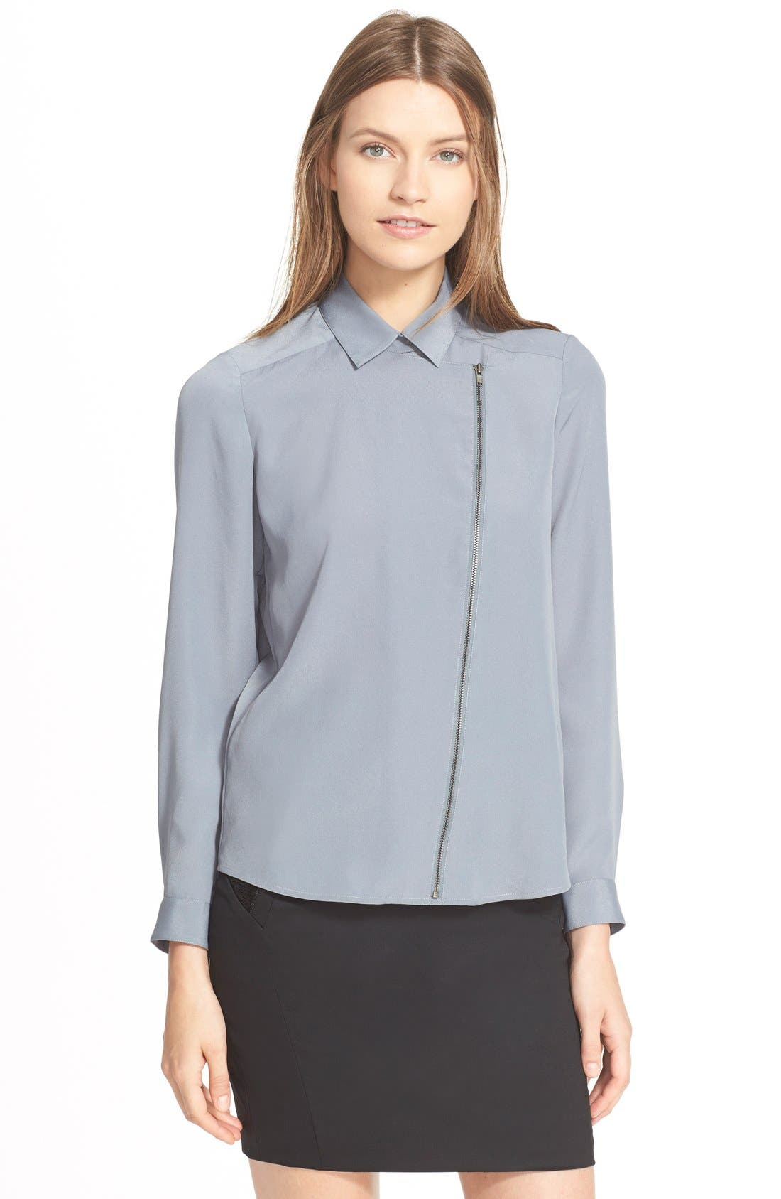 Alternate Image 1 Selected - The Kooples Front Zip Crepe Shirt