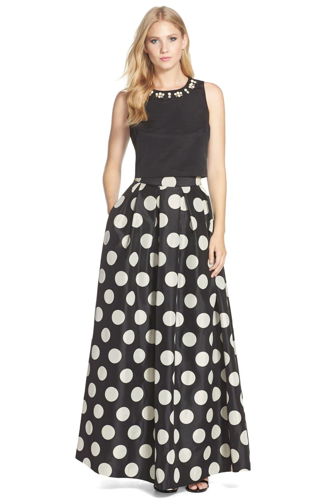 Alternate Image 4  - Eliza J Polka Dot Woven Ball Skirt