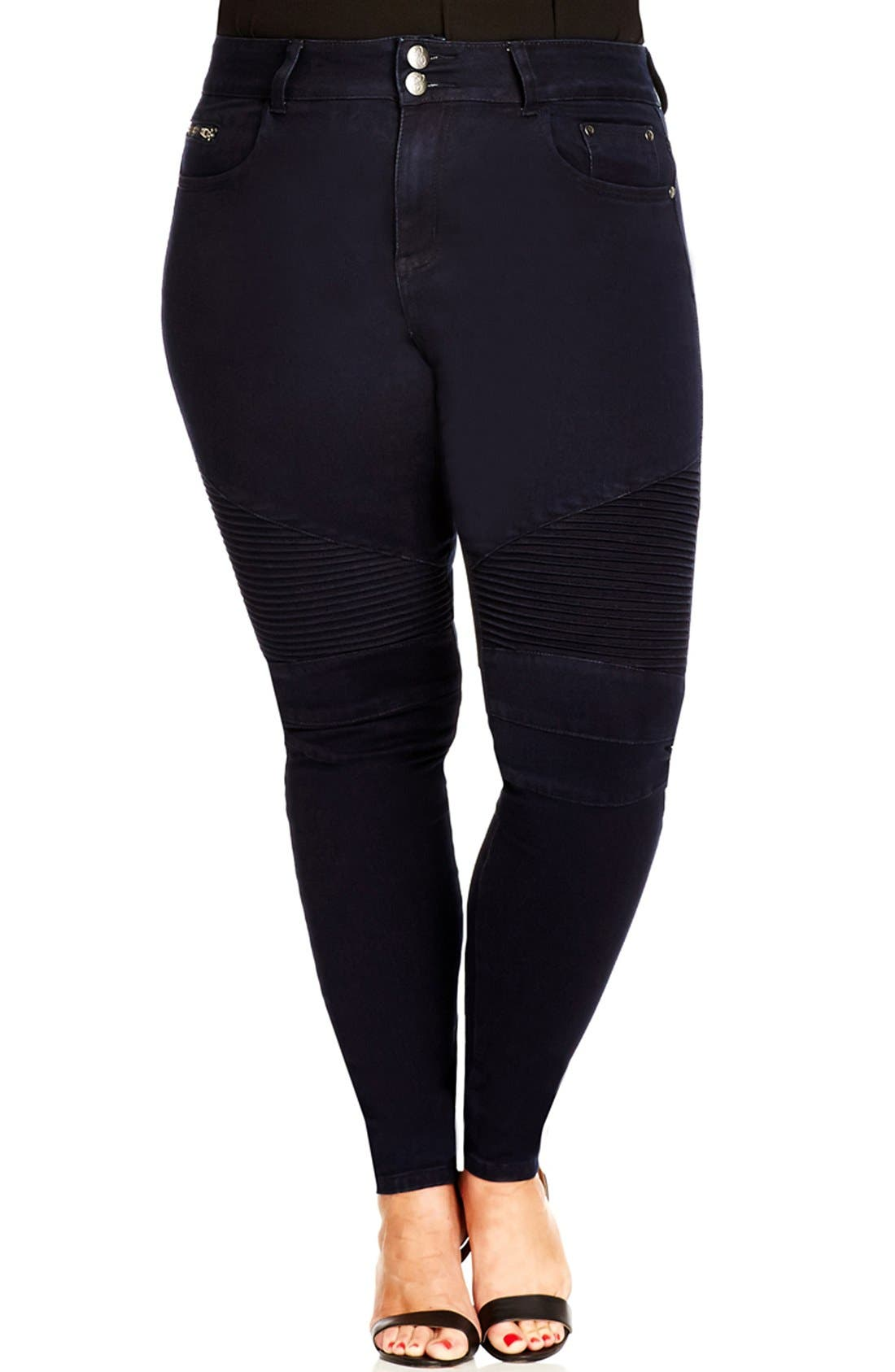 Alternate Image 1 Selected - City Chic 'Moto' Stretch Skinny Jeans (Dark Denim) (Plus Size)