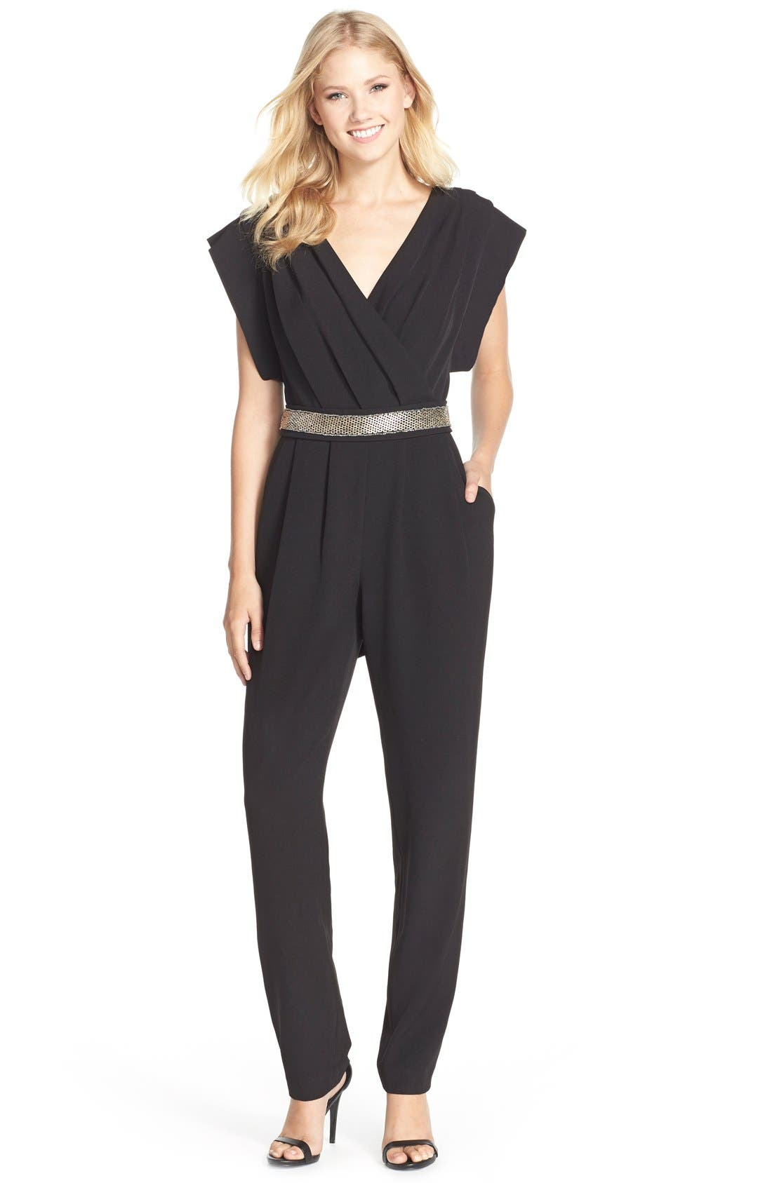 Eliza J Belted Pleated Jumpsuit