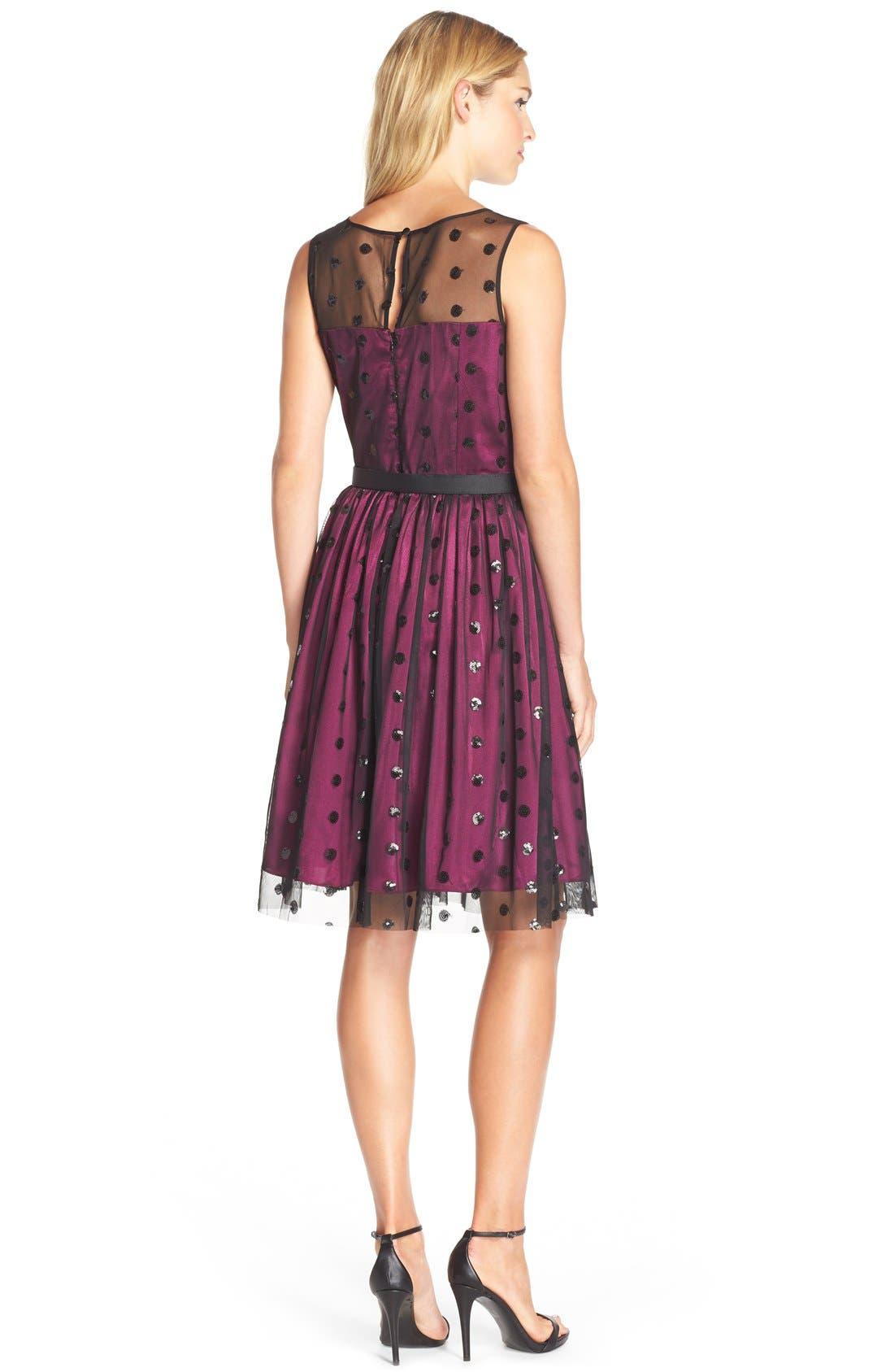 Alternate Image 2  - Eliza J Sequin Polka Dot Mesh Fit & Flare Dress