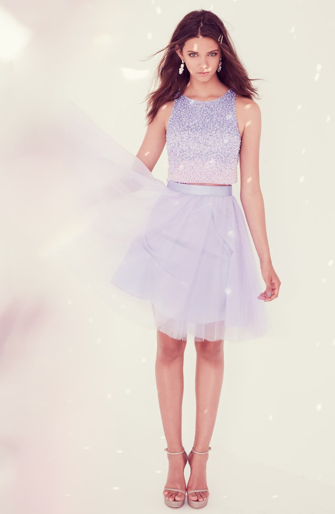 Alternate Image 4  - Glamour by Terani Couture Beaded Top & Tulle Two-Piece Dress