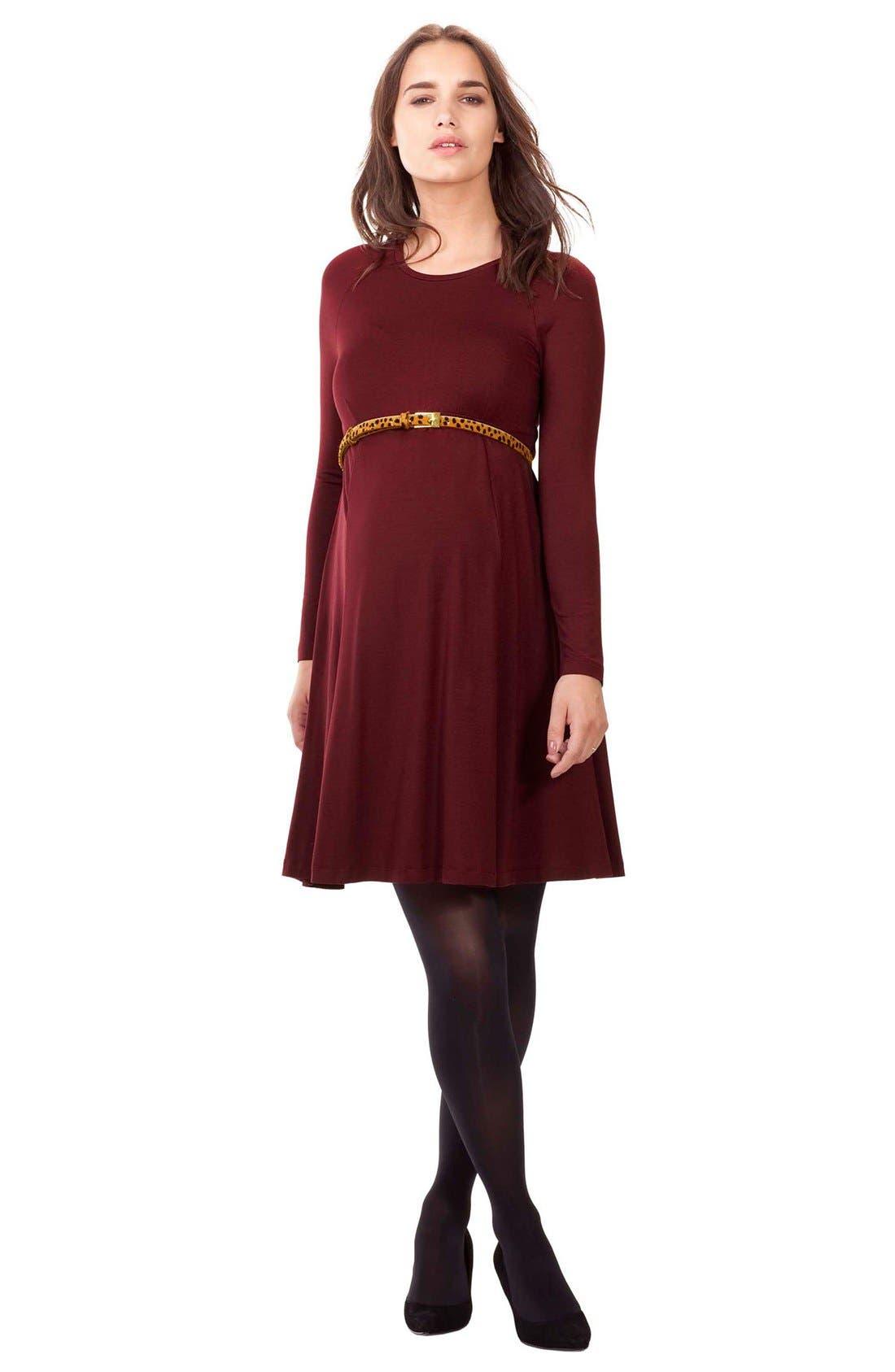 Main Image - Isabella Oliver 'Danbury' Belted Maternity Skater Dress