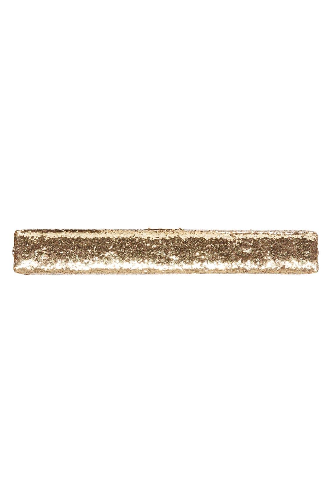 Alternate Image 6  - kate spade new york 'wedding belles - gold knot' glitter box clutch