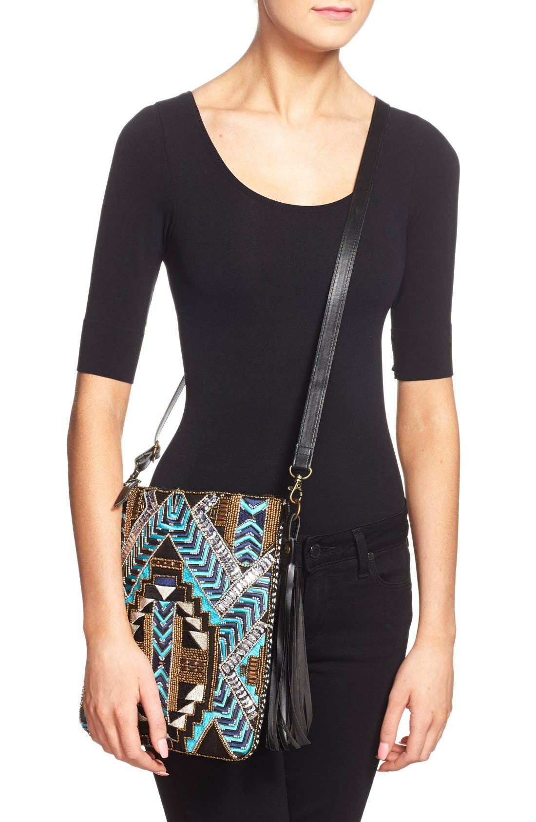 Alternate Image 2  - Big Buddha Geo Beaded Crossbody Bag