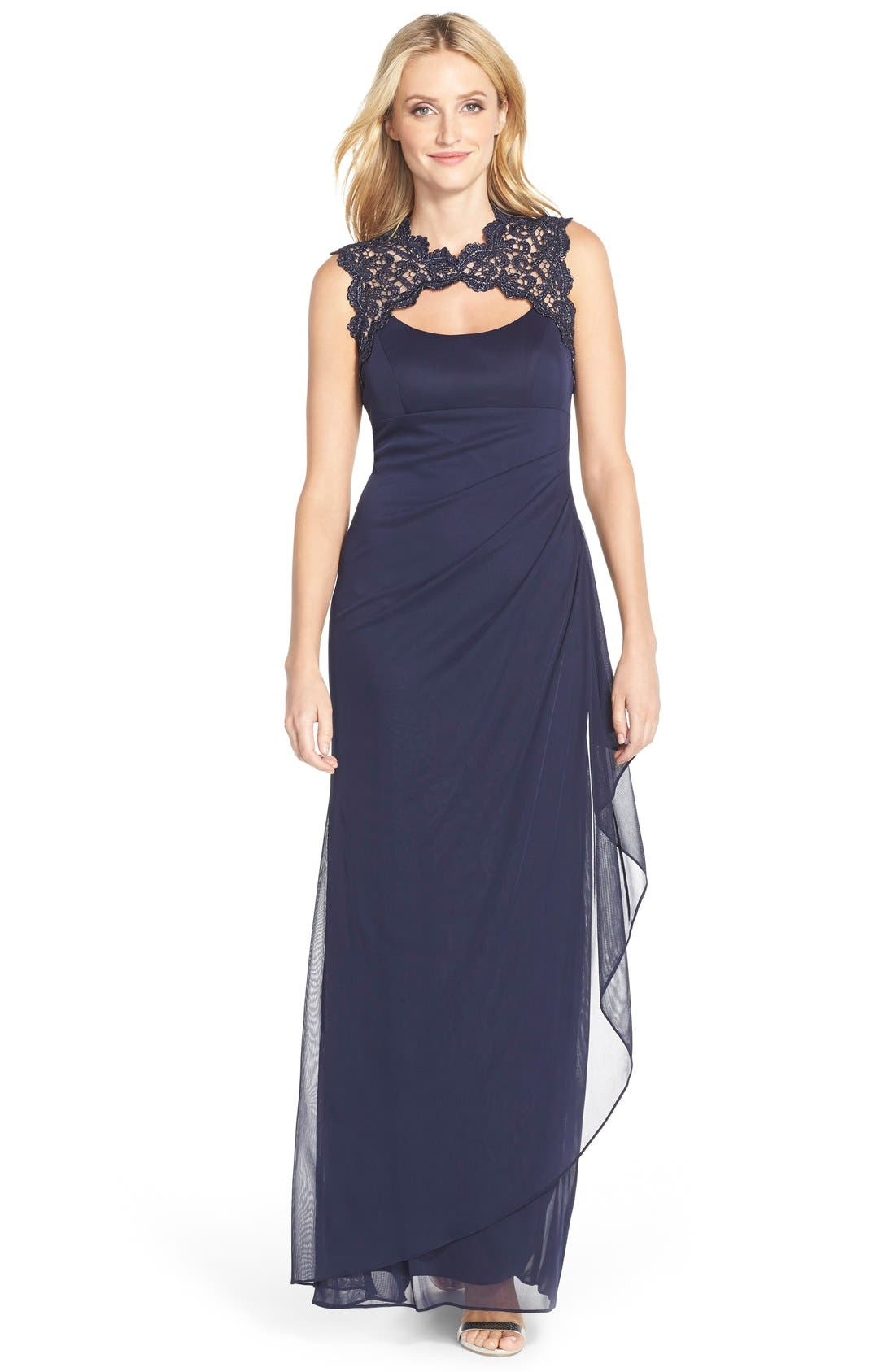 Main Image - Xscape Metallic Lace & Jersey Gown