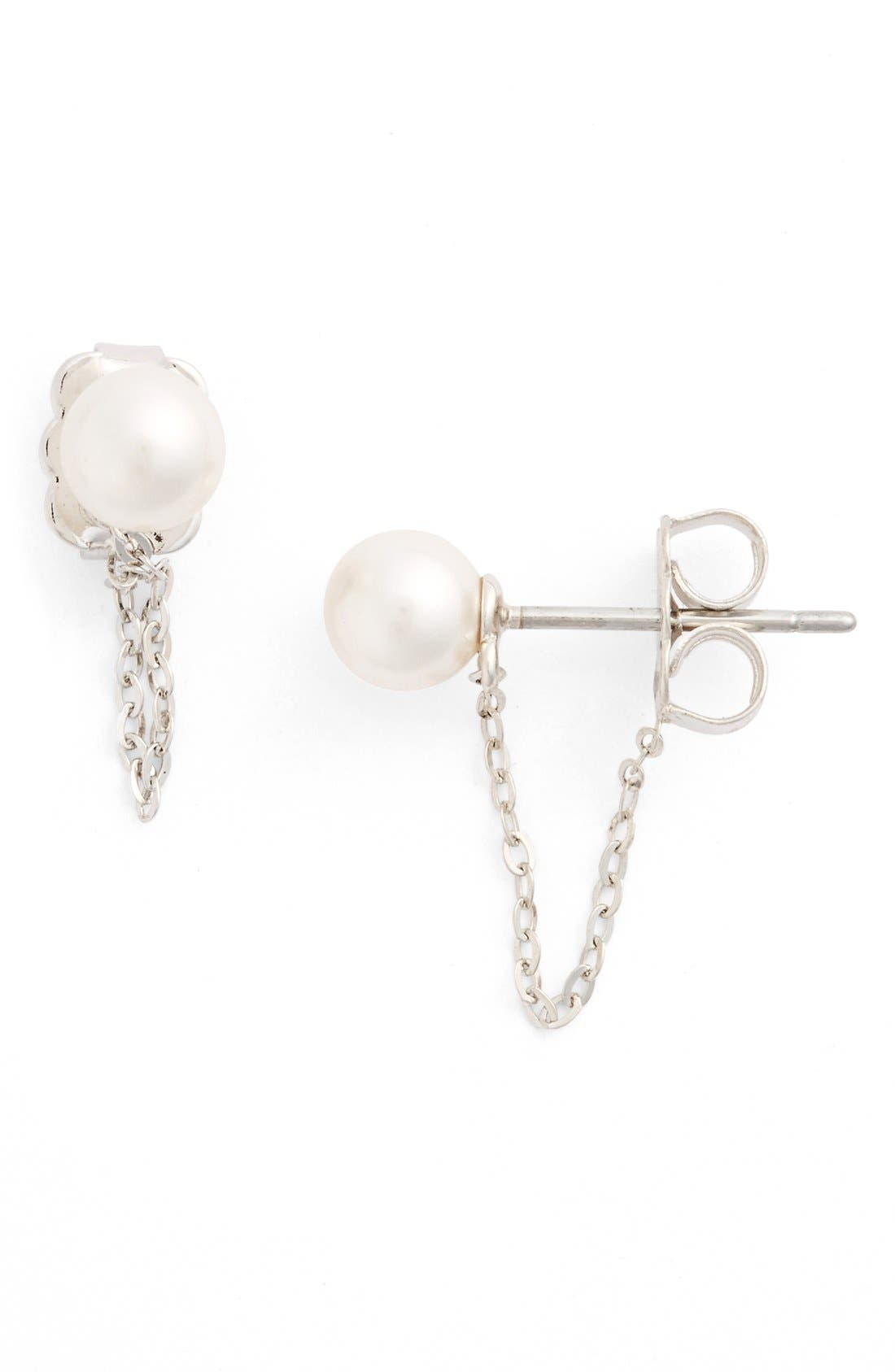 Alternate Image 1 Selected - Nadri Faux Pearl Chain Earrings