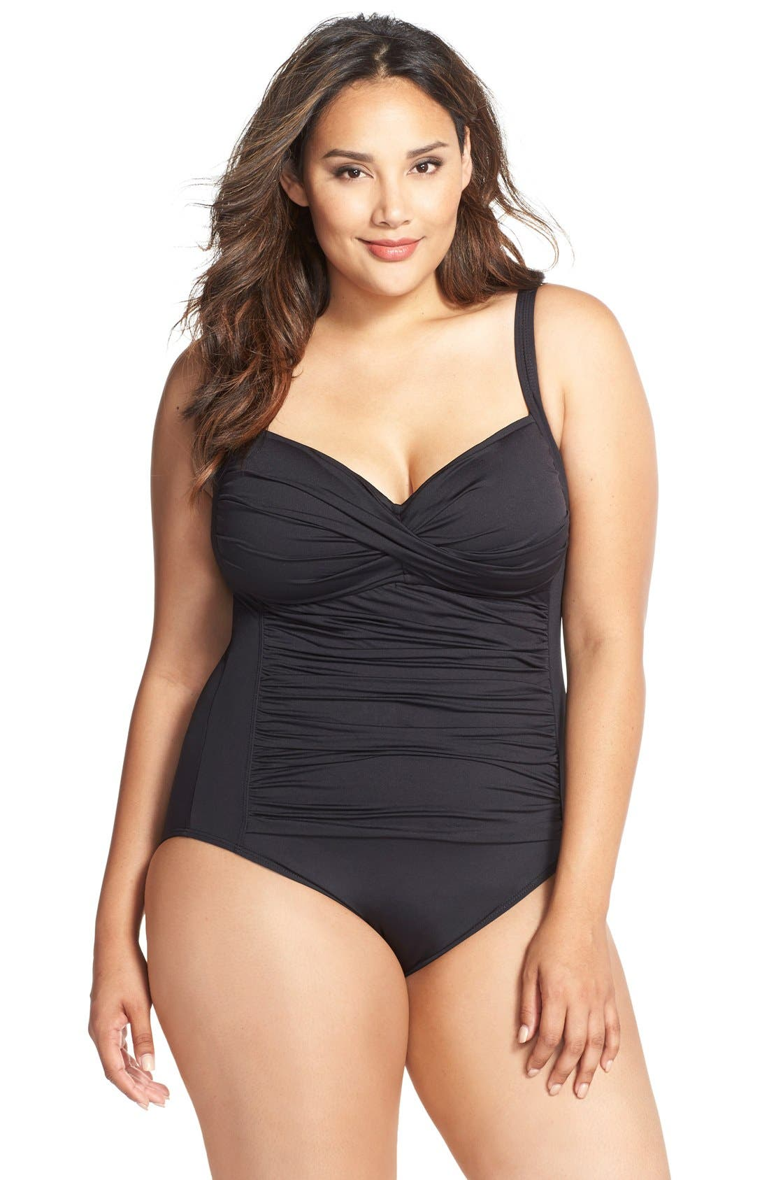 La Blanca Ruched One-Piece Swimsuit (Plus Size)
