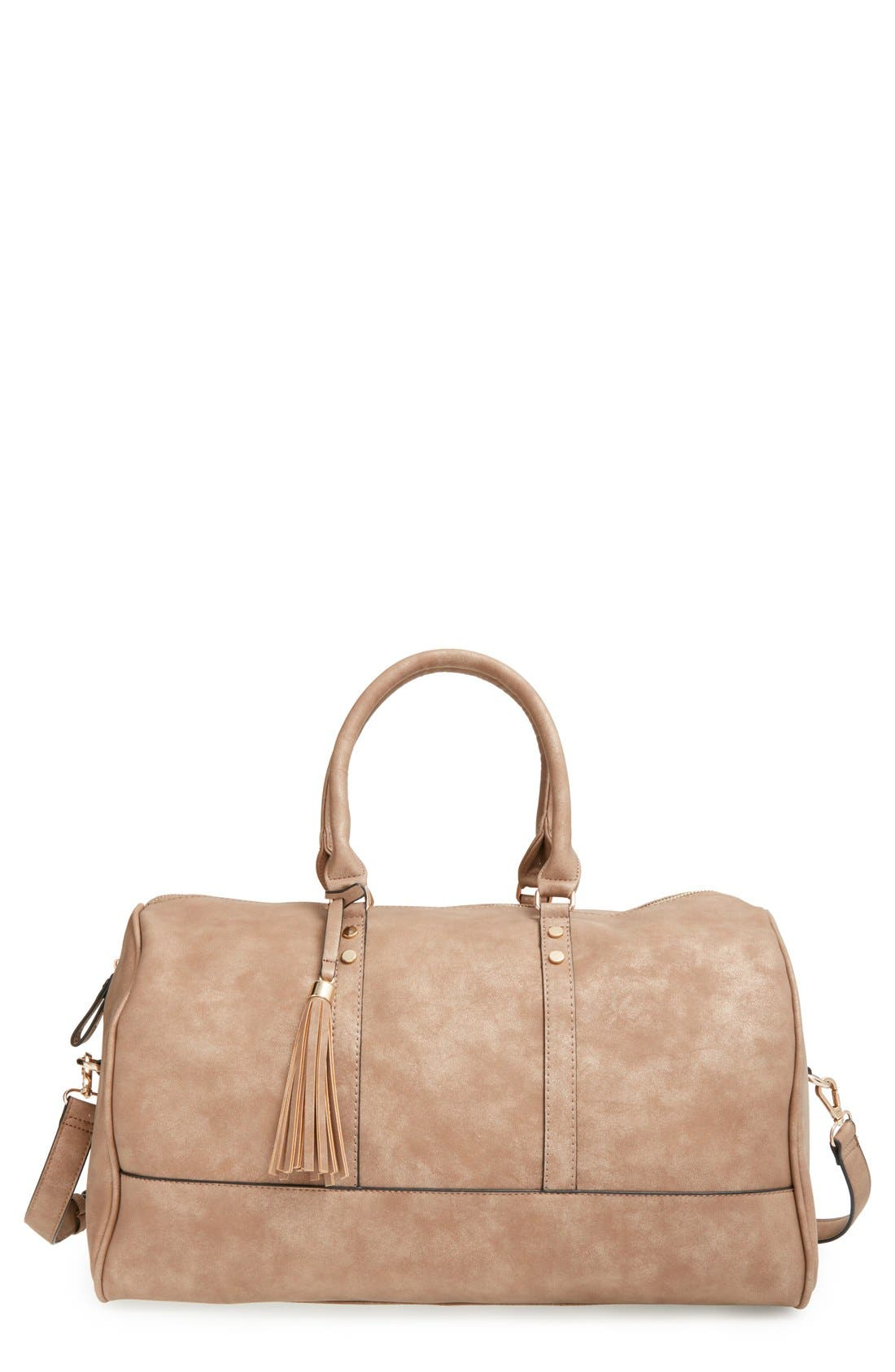 Main Image - Sole Society 'Finley' Faux Leather Weekend Duffel Bag