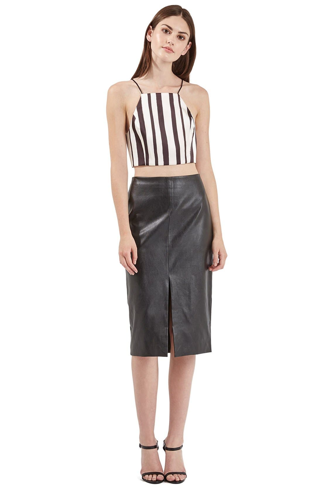 Alternate Image 2  - Topshop Stripe Wrap Back Crop Top