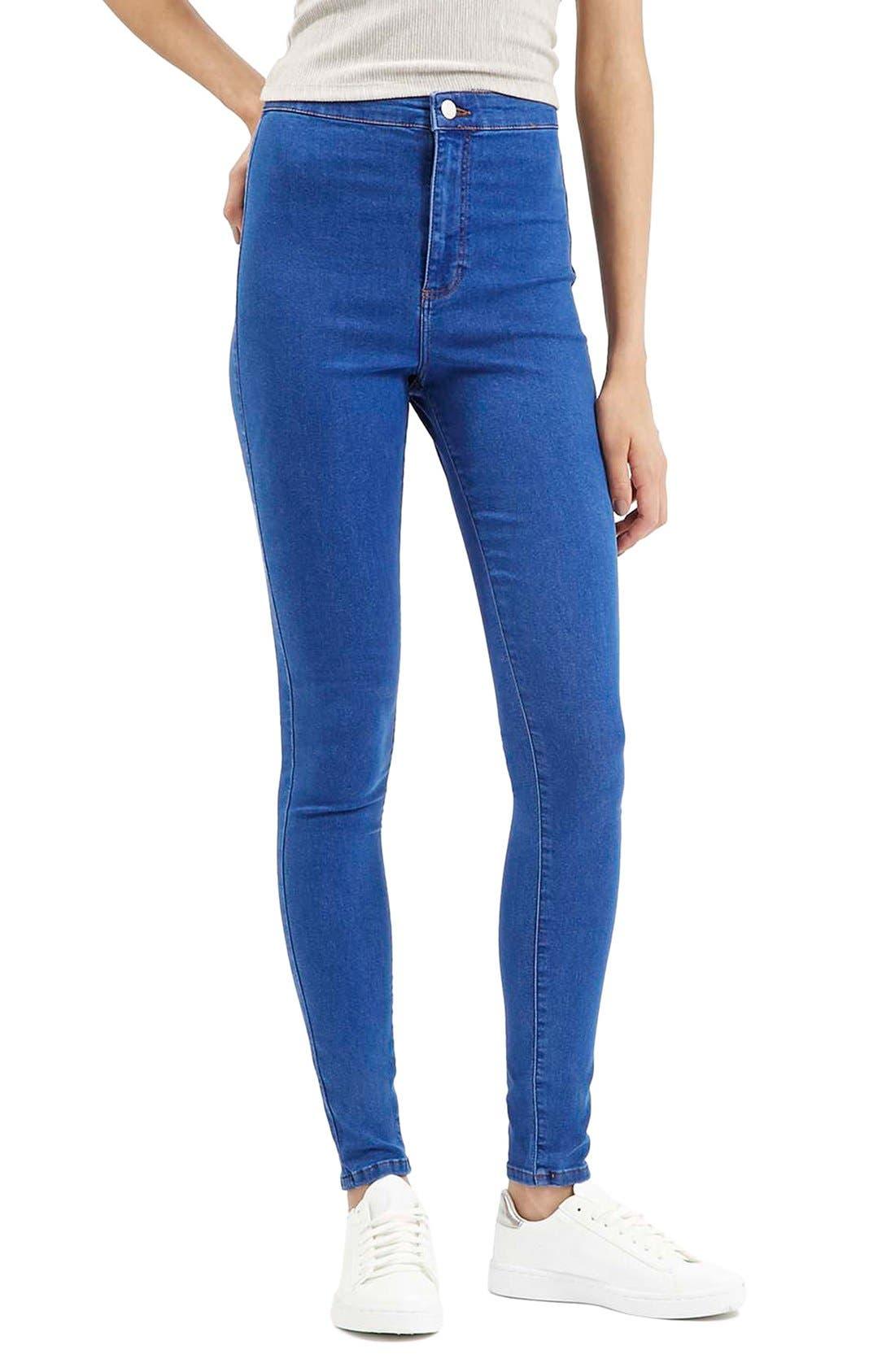 Main Image - Topshop'Joni' High Rise Skinny Jeans (Bright Blue)