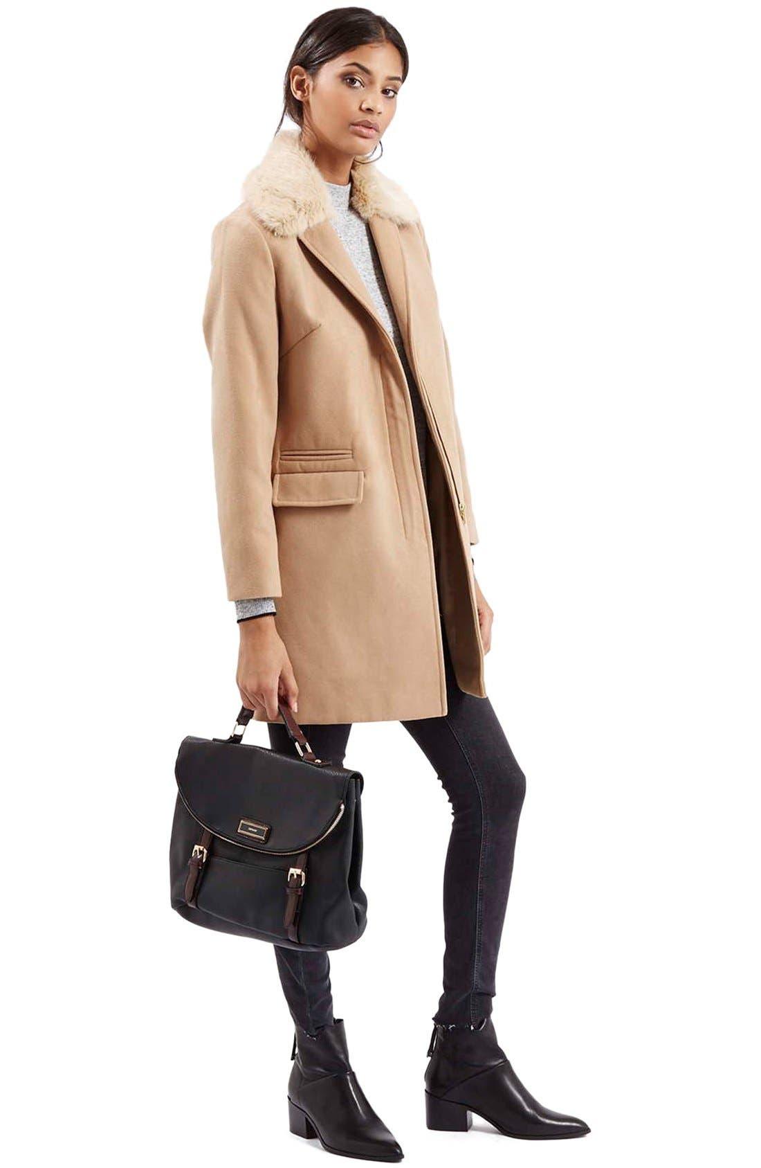 Alternate Image 2  - Topshop'Mia' FauxFur CollarSlim Fit Coat