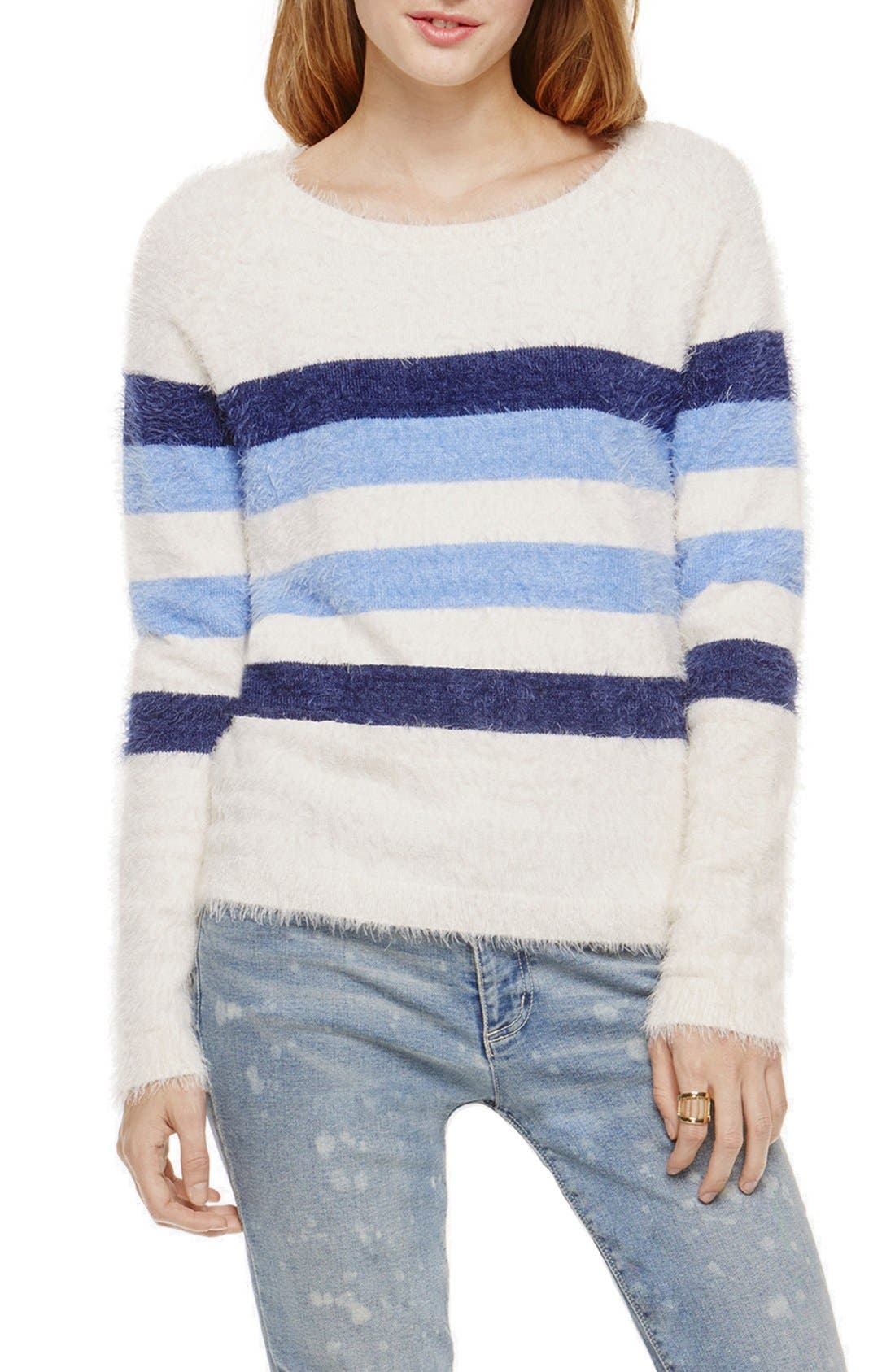 Main Image - Two by Vince Camuto Eyelash Yarn Stripe Pullover
