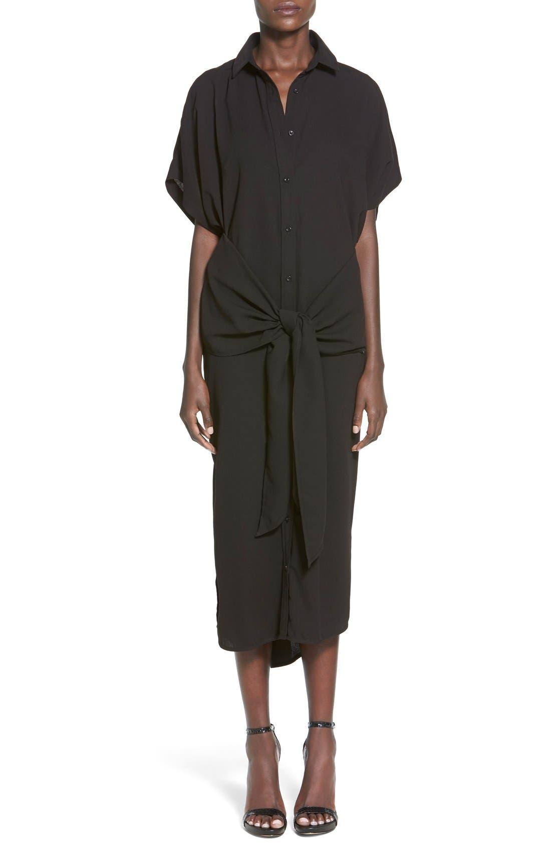 Main Image - C/MEO Collective 'No Limit' Tie Front Midi Shirtdress