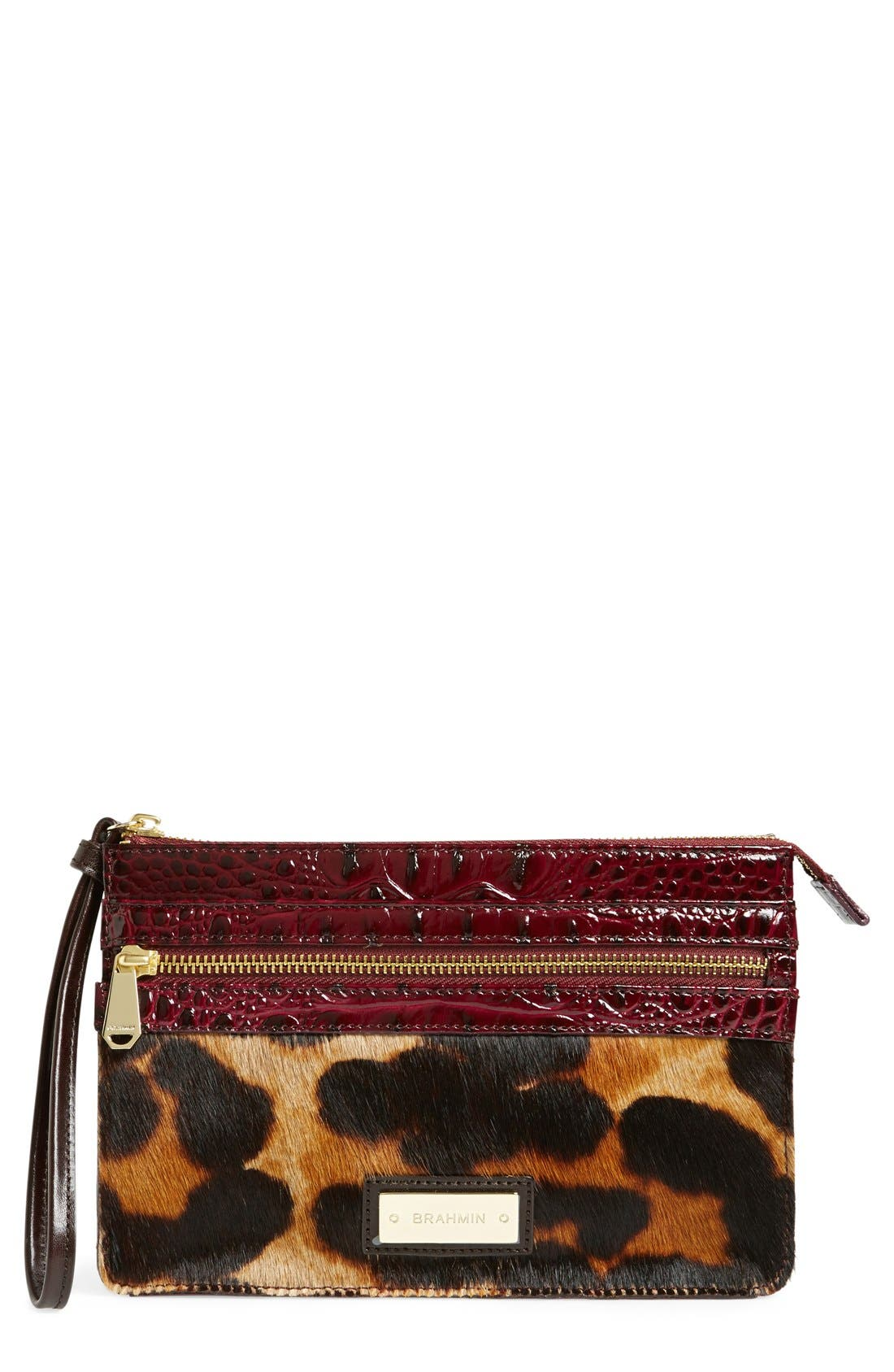 Main Image - Brahmin'Winnie' Genuine Calf Hair & Leather Wristlet