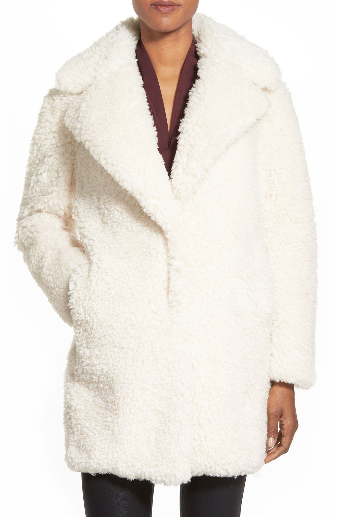 kensie 'Teddy Bear' Notch Collar Faux Fur Coat (Online Only)