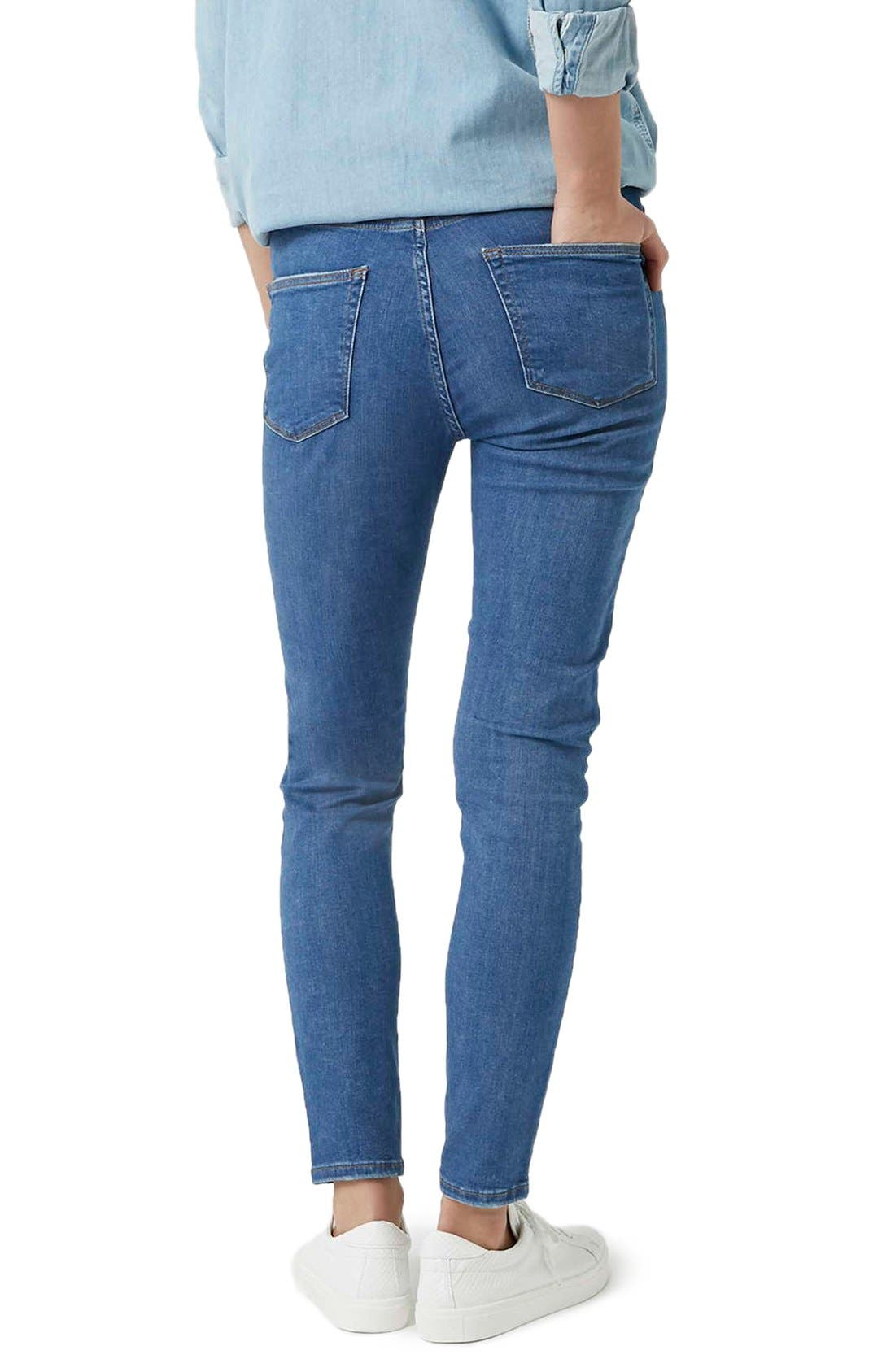 Alternate Image 3  - Topshop Moto 'Jamie' Ripped Skinny Jeans (Mid Denim) (Tall)