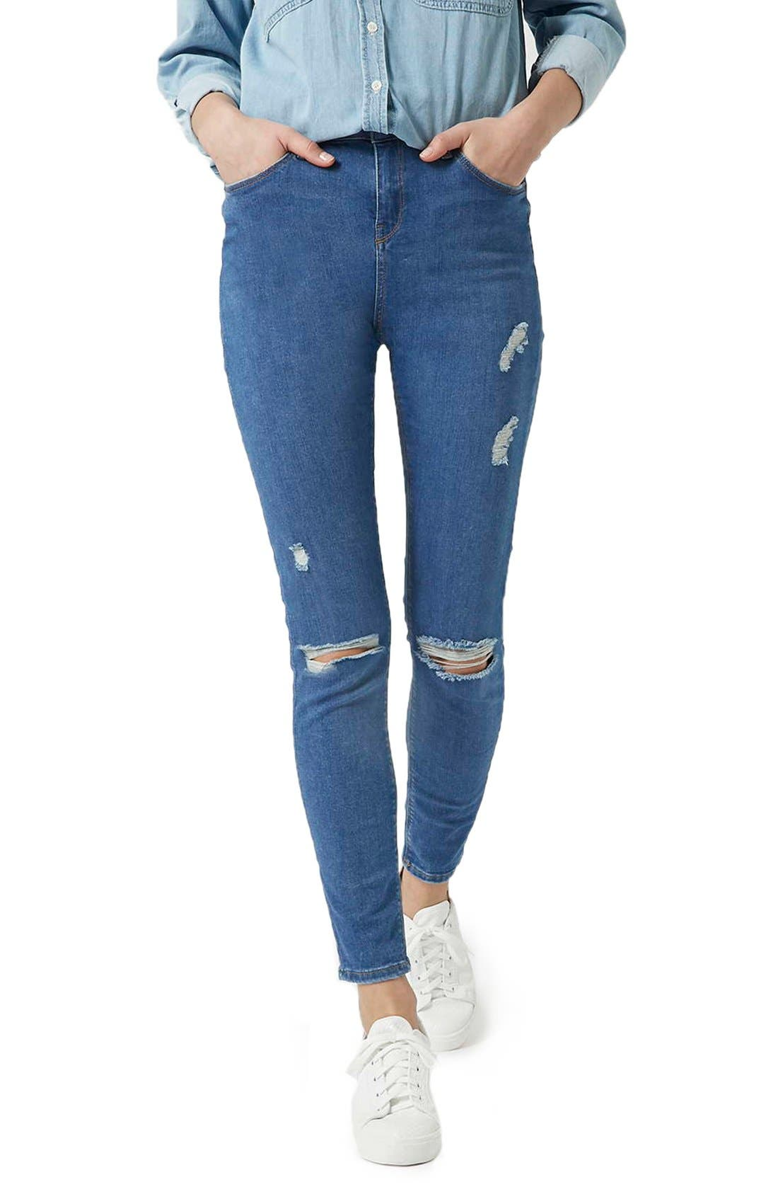 Alternate Image 1 Selected - Topshop Moto 'Jamie' Ripped Skinny Jeans (Mid Denim) (Tall)