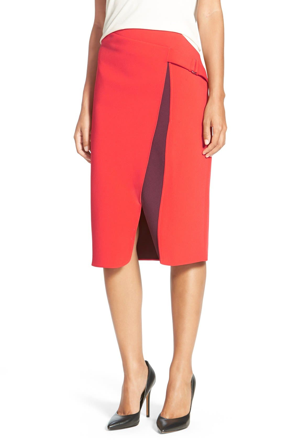 Alternate Image 1 Selected - Halogen® Belt Detail FauxWrap Skirt