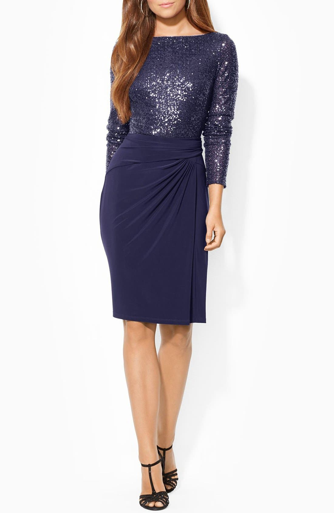 LAUREN RALPH LAUREN Sequin Mesh & Jersey Sheath