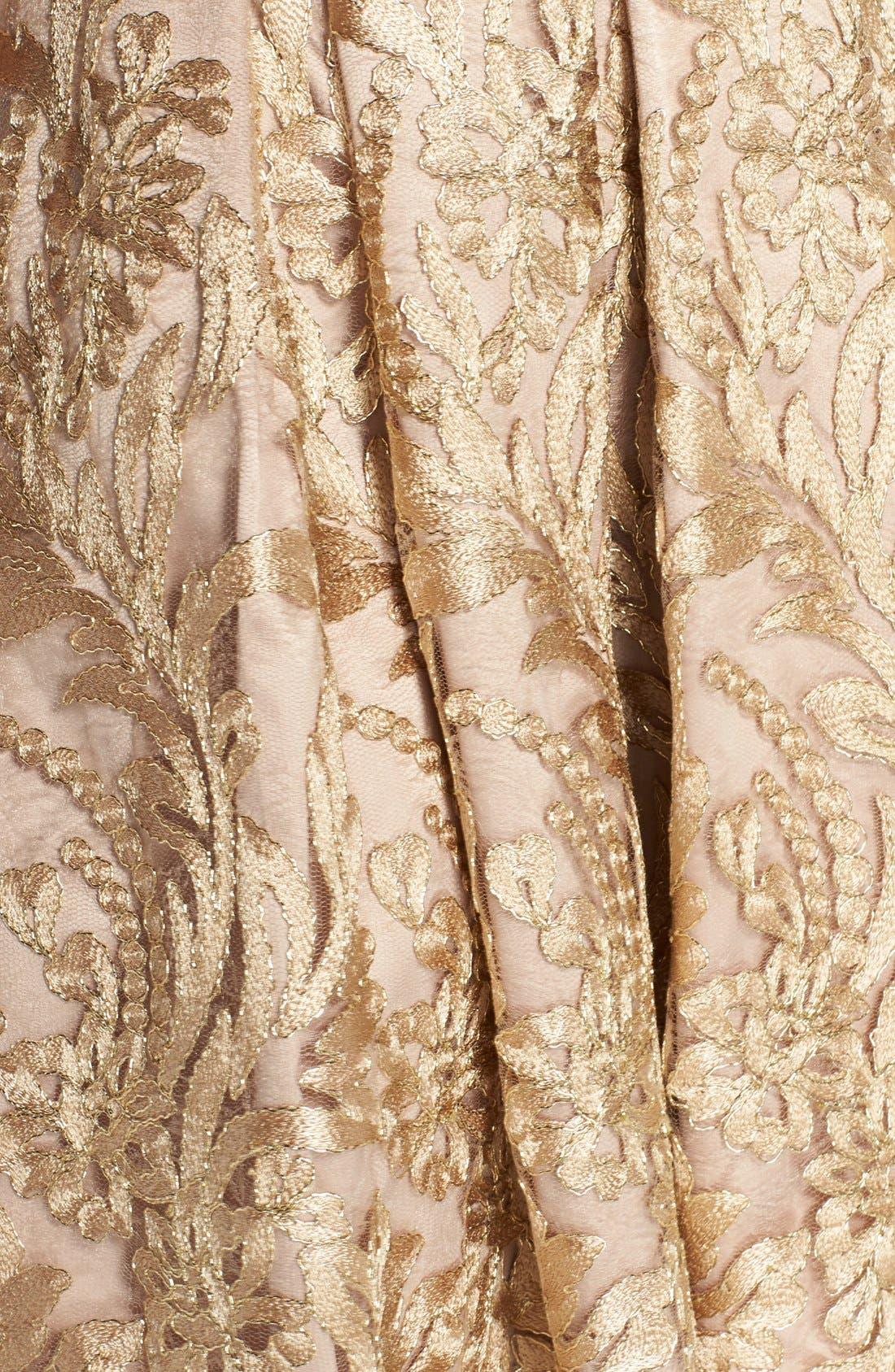 Alternate Image 6  - Eliza J Belted Embroidered Charmeuse Fit & Flare Dress