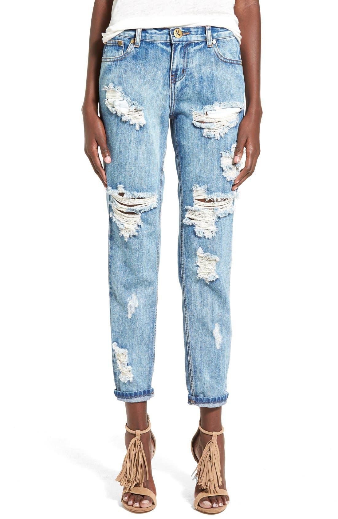 Main Image - One Teaspoon 'Awesome Baggies' CropBoyfriend Jeans