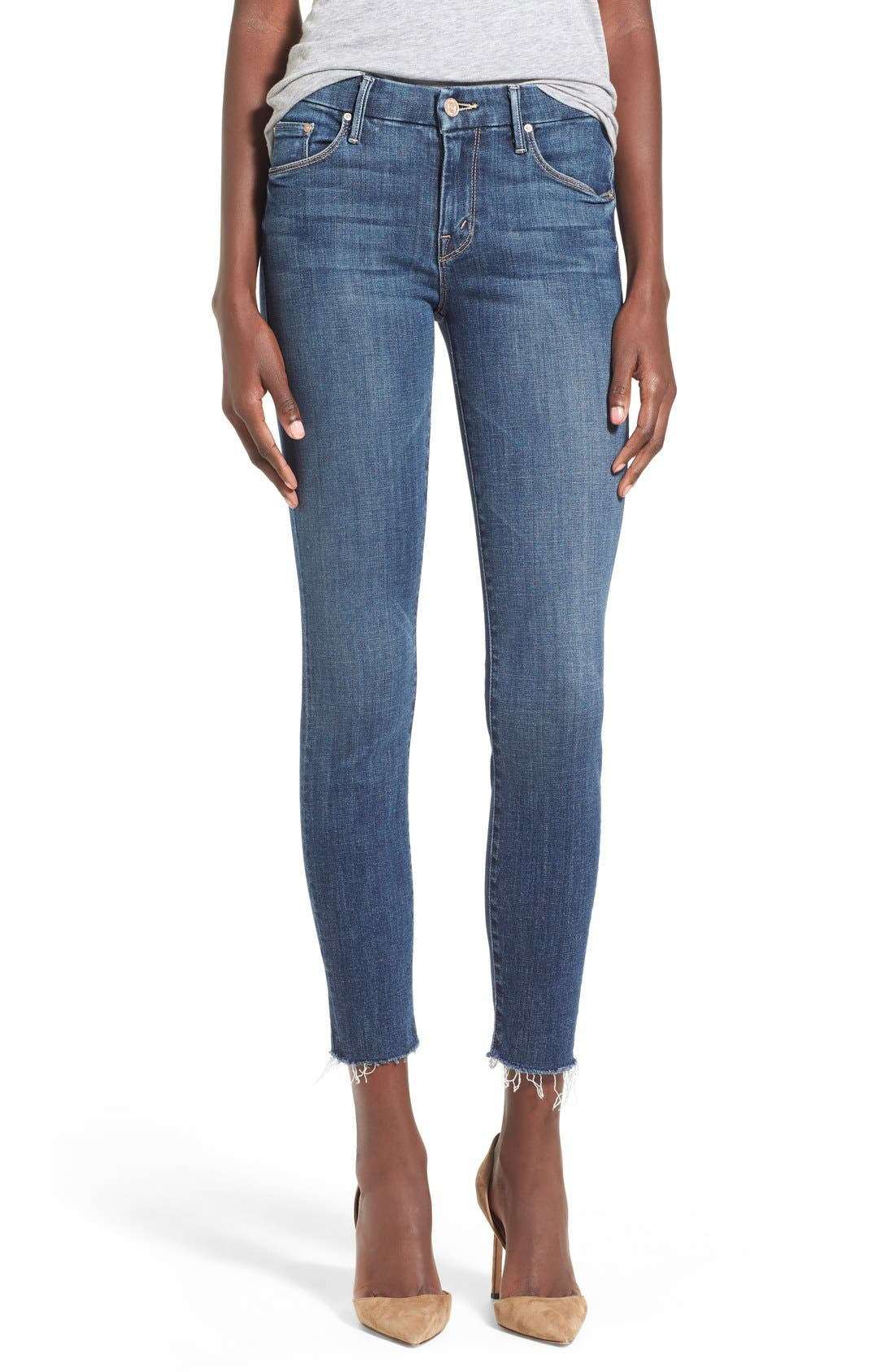 MOTHER 'The Looker' Frayed Ankle Jeans (Girl Crush)