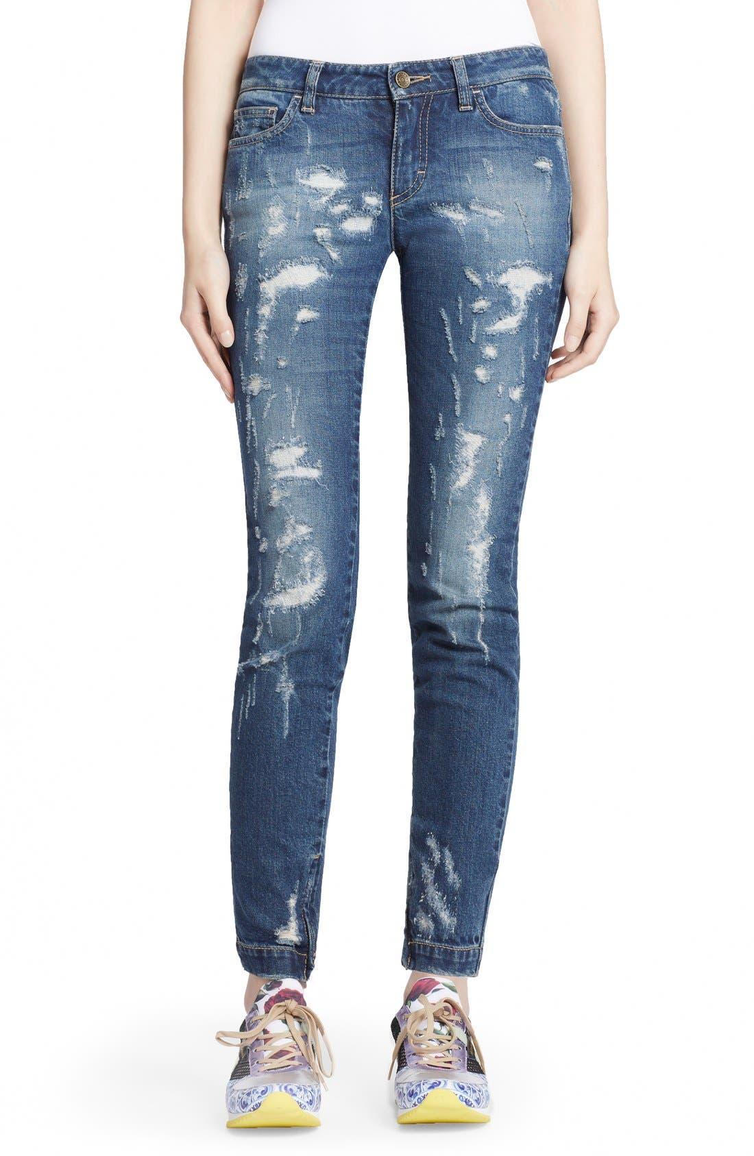 Alternate Image 1 Selected - Dolce&Gabbana Destroyed Skinny Jeans