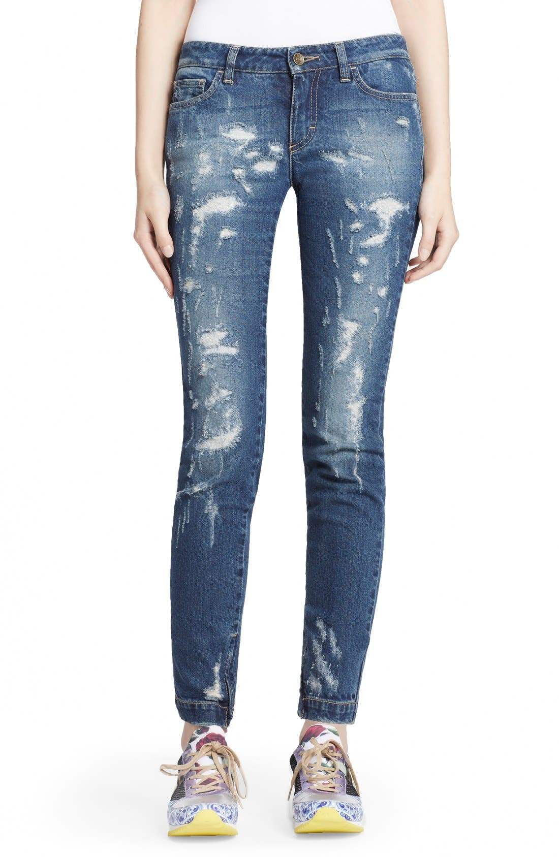 Main Image - Dolce&Gabbana Destroyed Skinny Jeans