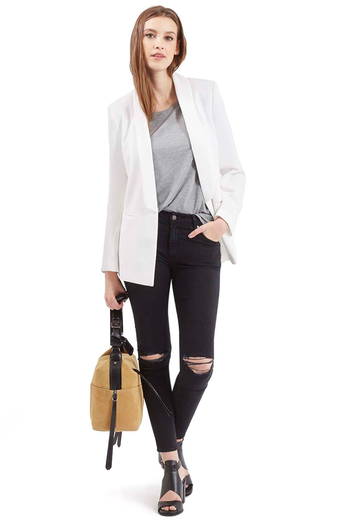 Alternate Image 2  - Topshop Belted Tuxedo Jacket