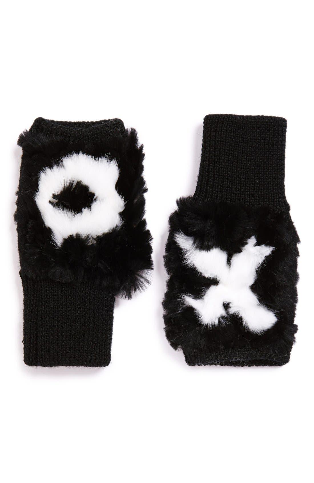 Main Image - Jocelyn 'XO' Genuine Rex Rabbit Fur Trim FingerlessMittens