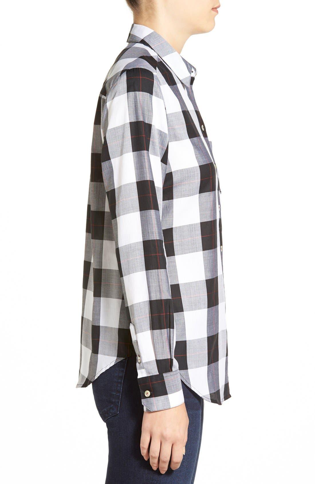 Alternate Image 3  - Foxcroft Herringbone Buffalo Check Shirt (Regular & Petite)