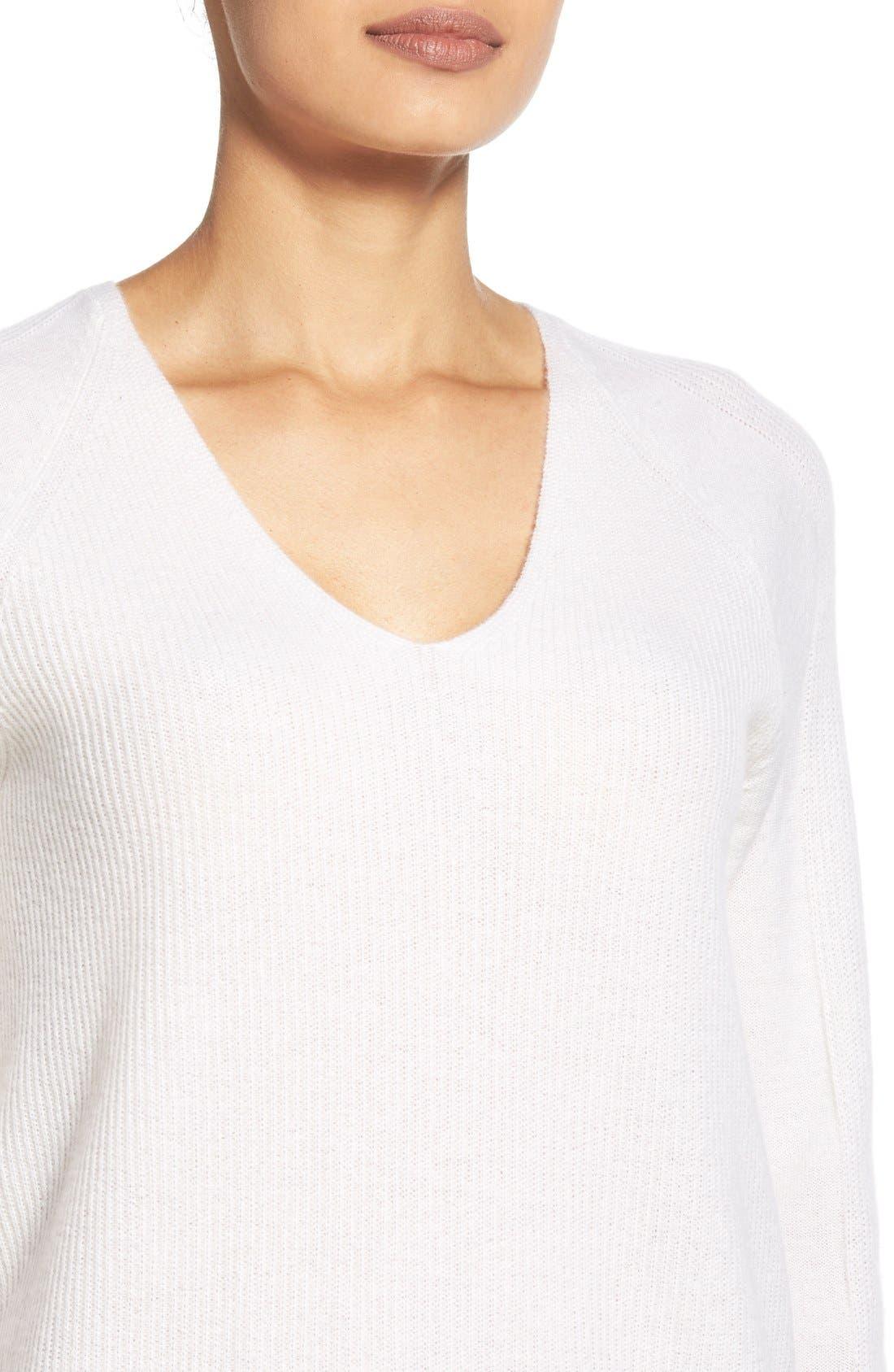 Alternate Image 3  - Nordstrom Collection V-Neck Cashmere Sweater