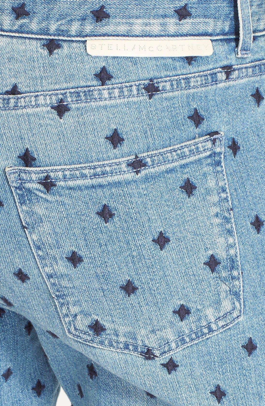 Alternate Image 3  - Stella McCartney 'The Skinny' Star Embroidered Boyfriend Jeans (Classic Blue)