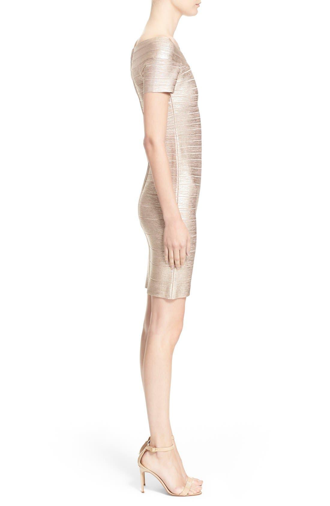 Alternate Image 4  - Herve Leger Foiled Off the Shoulder Bandage Dress