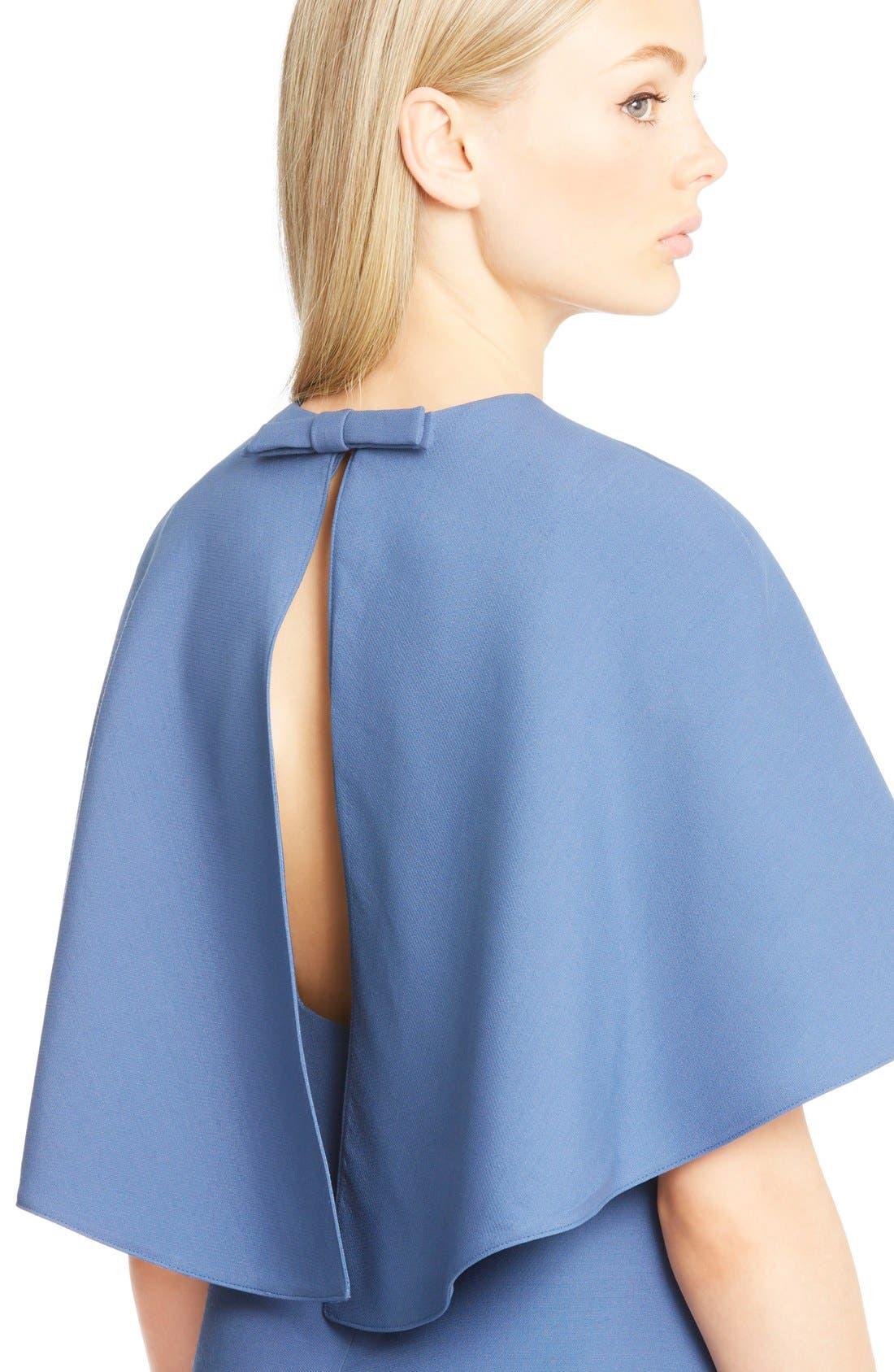 Alternate Image 6  - Valentino Cape Back Wool & Silk Sheath Dress