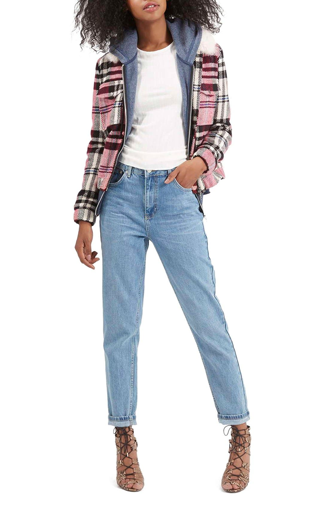 Alternate Image 2  - Topshop Check Bomber with Faux Fur Collar
