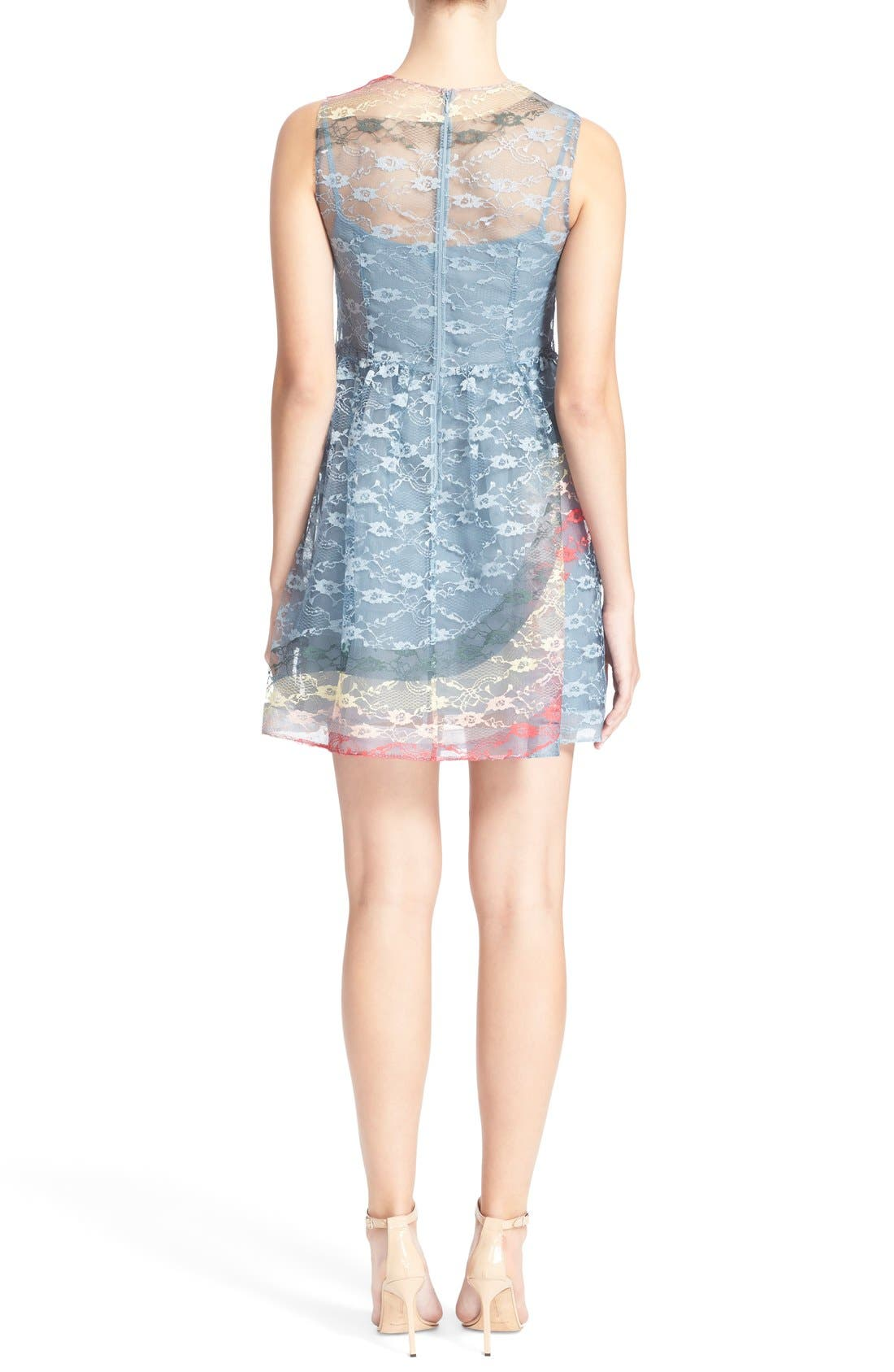 Alternate Image 2  - RED Valentino Rainbow Lace Fit & Flare Dress