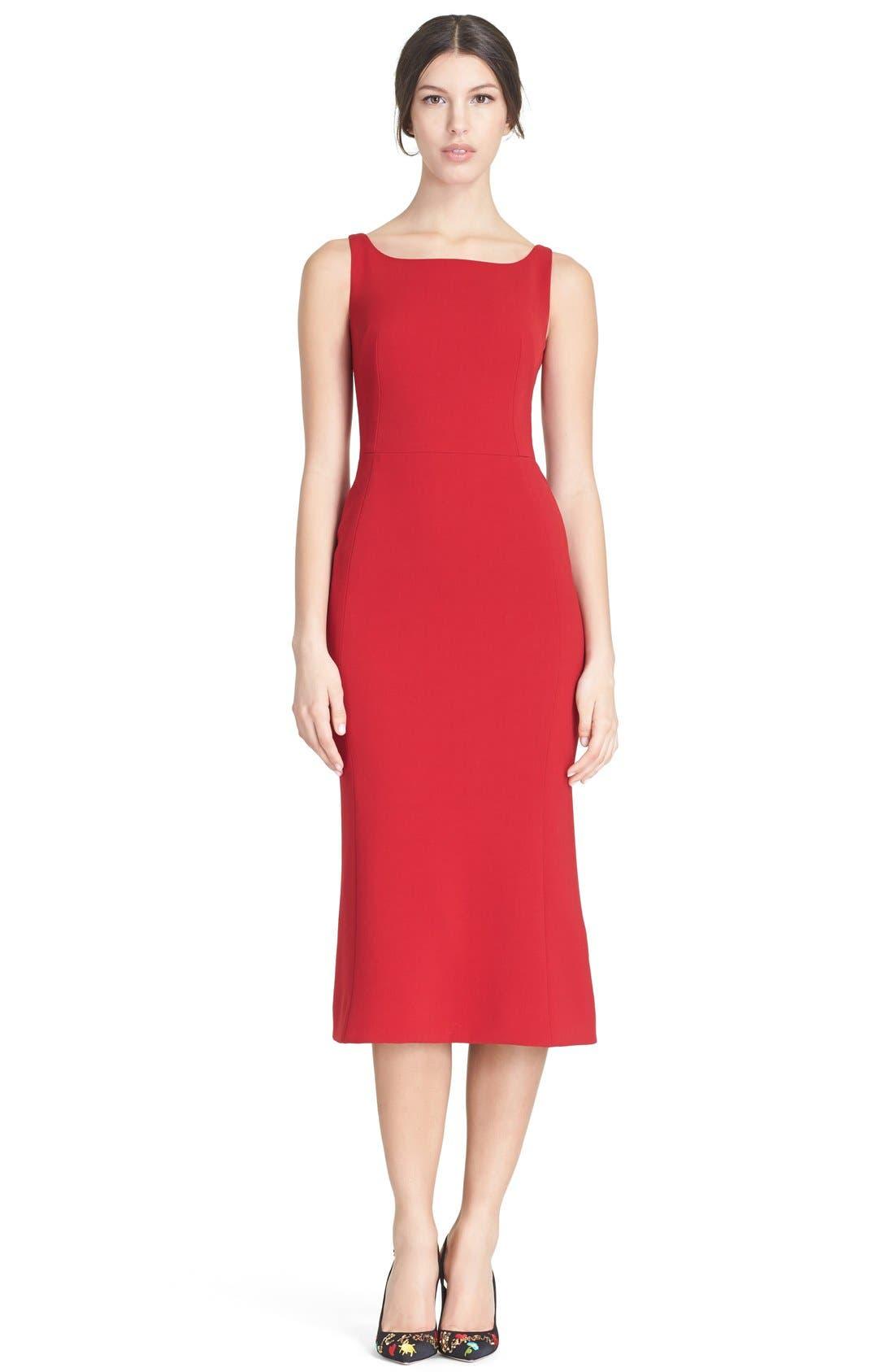 Main Image - Dolce&Gabbana Square Neck Wool Crepe Dress
