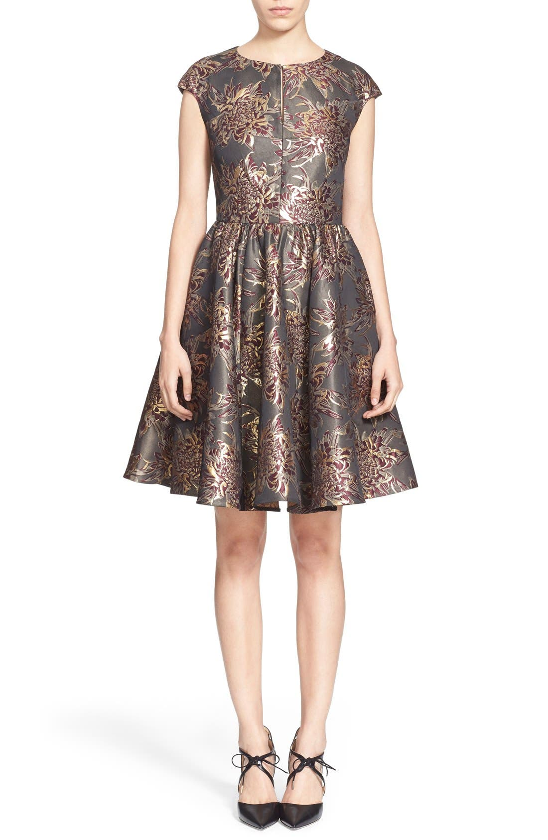 Main Image - Ted Baker London 'Laurey' Metallic Floral Jacquard Fit & Flare Dress