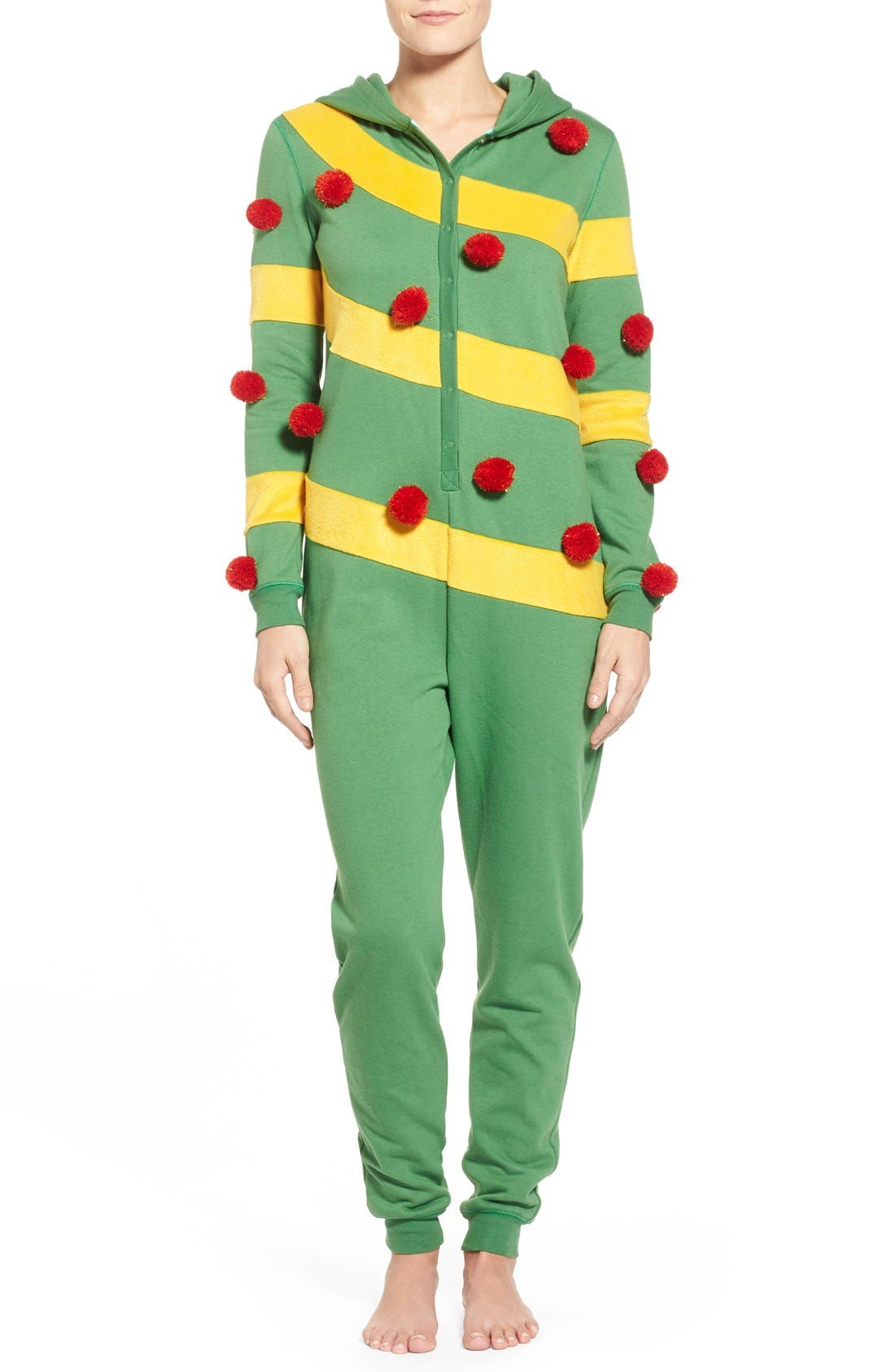Alternate Image 1 Selected - BP. Undercover Hooded Christmas Tree Jumpsuit