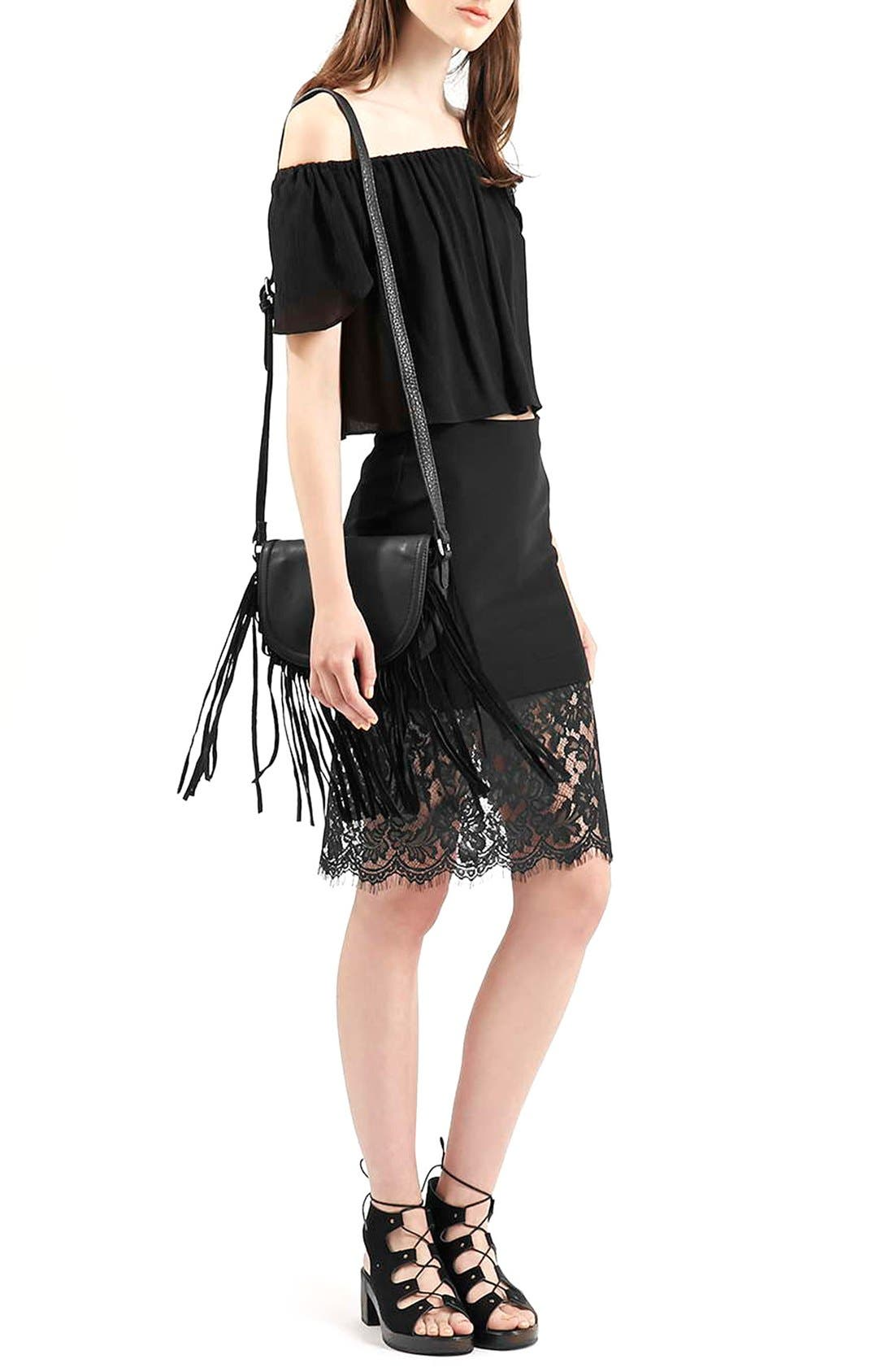 Alternate Image 2  - Topshop Lace Hem Body-Con Skirt