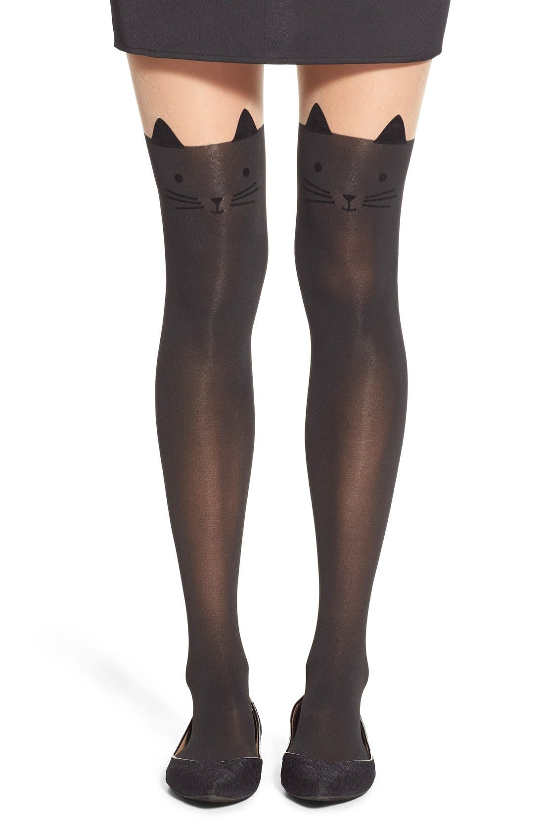 Main Image - Capelli of New York 'Cat Face' Over the Knee Stockings
