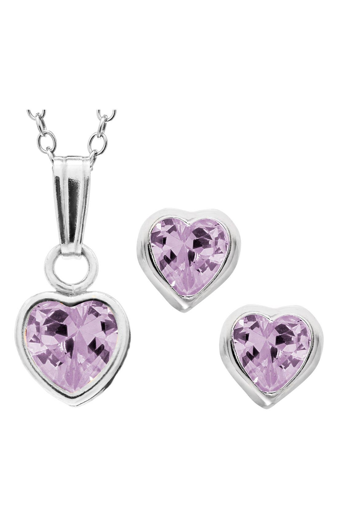 Mignonette Sterling Silver & Cubic Zirconia Birthstone Necklace & Earrings Set (Girls)