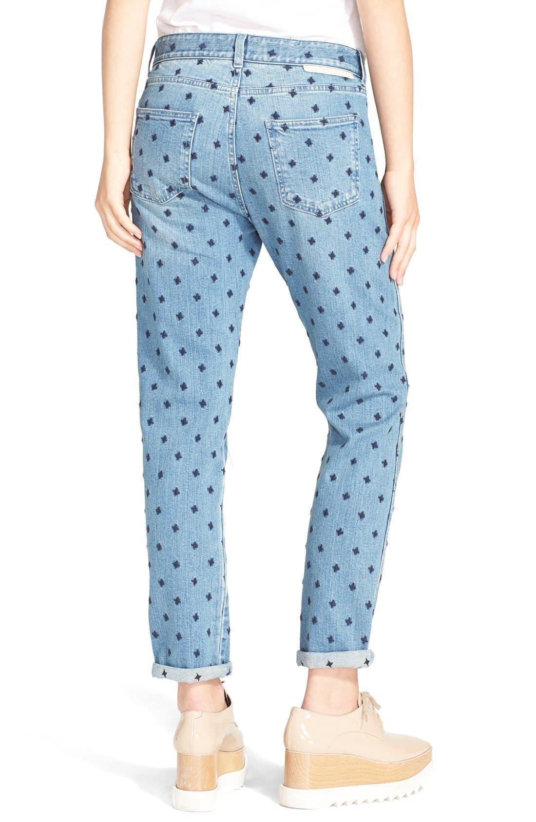 Alternate Image 2  - Stella McCartney 'The Skinny' Star Embroidered Boyfriend Jeans (Classic Blue)