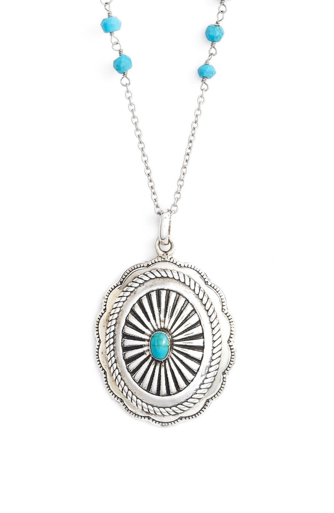 Main Image - Argento Vivo 'Southwest' Turquoise Scalloped Pendant Necklace