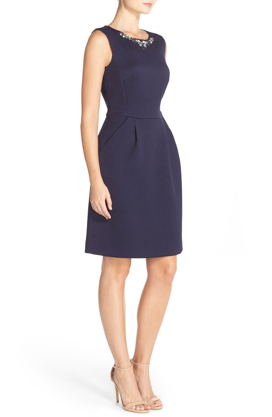 Alternate Image 3  - Tahari Bejeweled Neck Jacquard Sheath Dress (Regular & Petite)