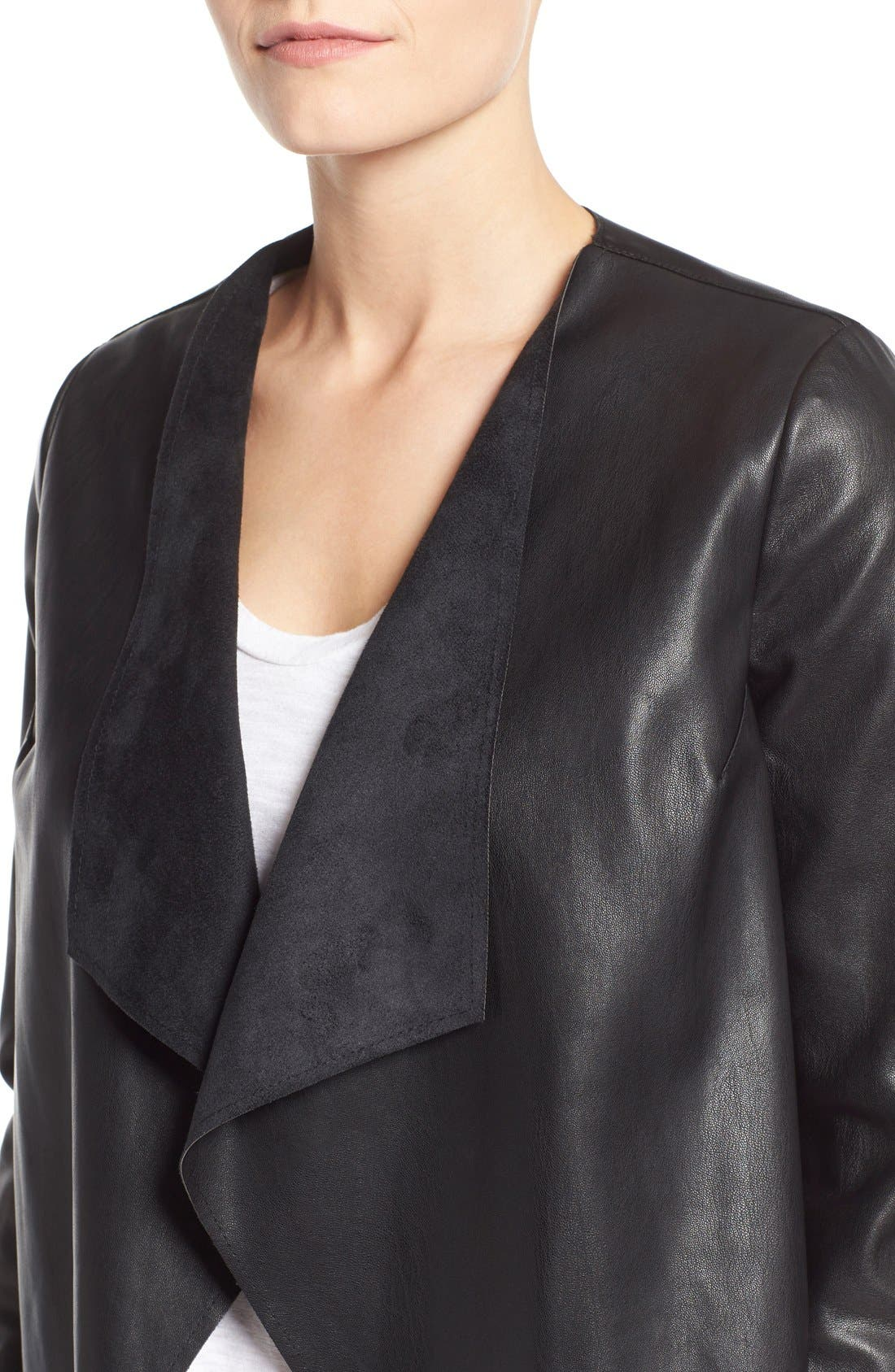 Alternate Image 4  - KUT from the Kloth 'Mira' Lace Back Faux Leather Jacket